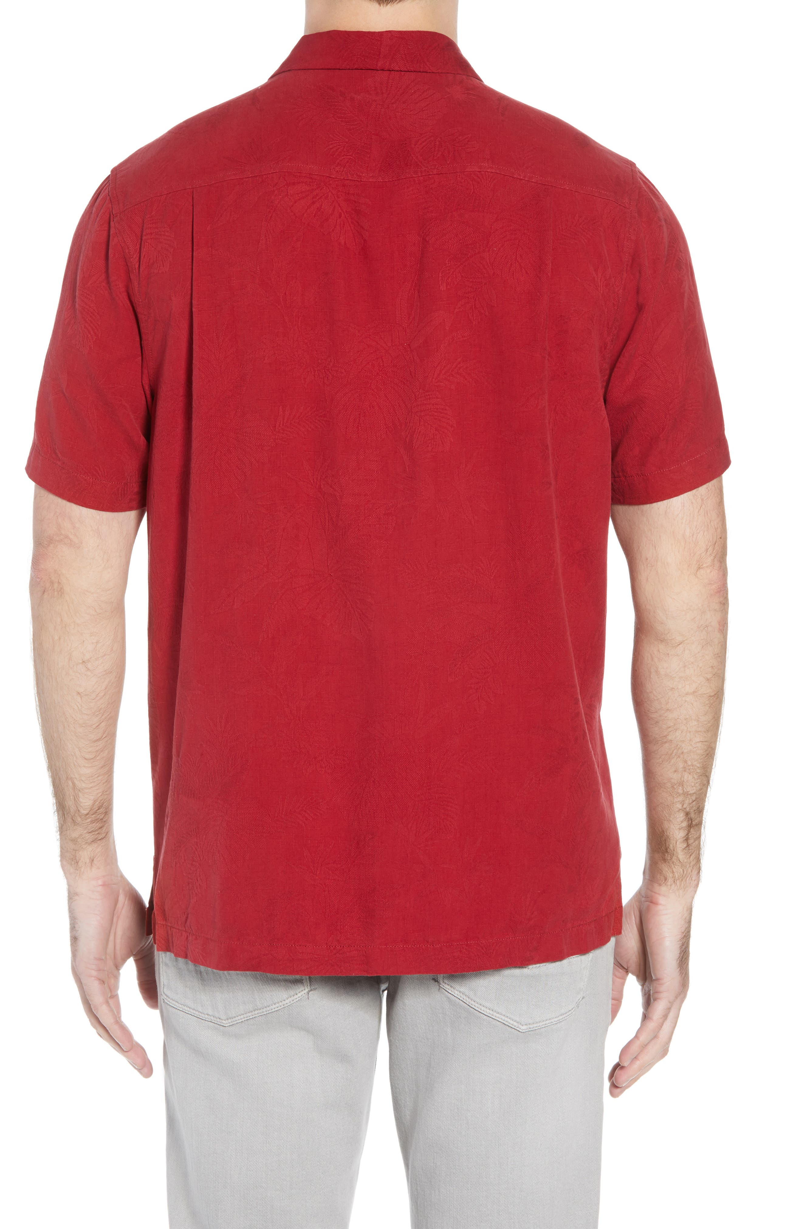 St Lucia Fronds Silk Camp Shirt,                             Alternate thumbnail 3, color,                             RED/ PLUM RAISIN