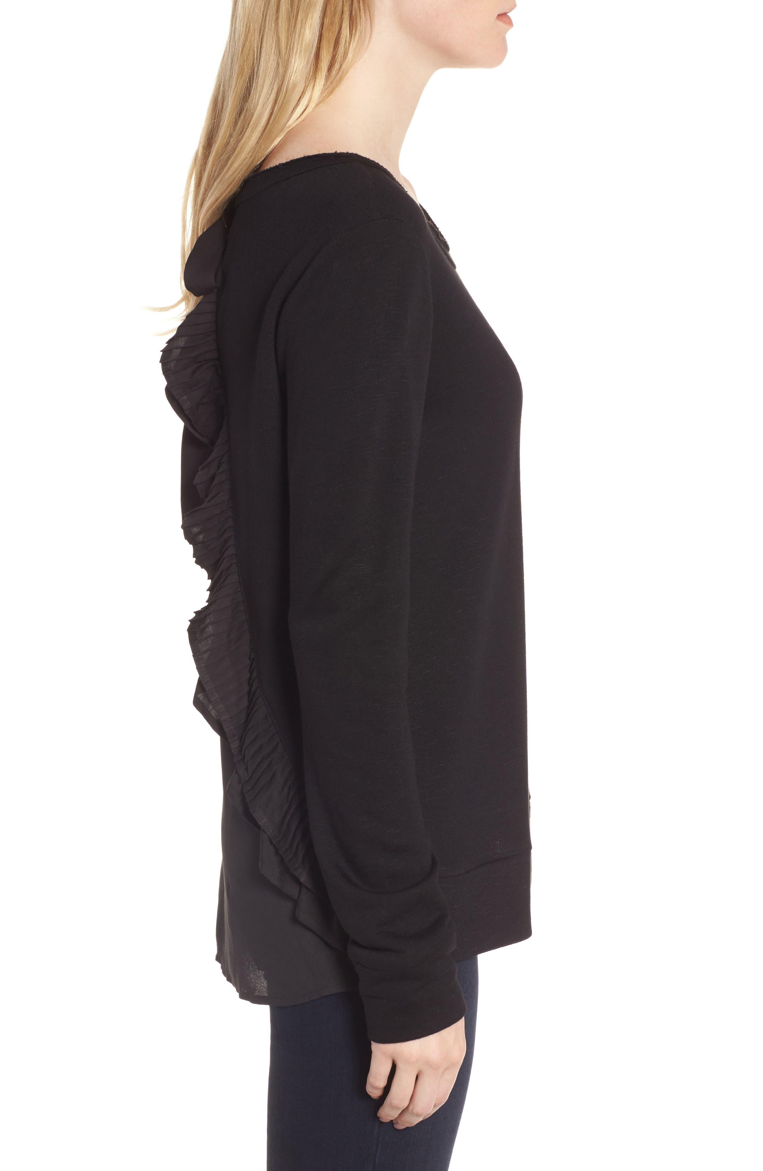 Ruffle Back Sweatshirt,                             Alternate thumbnail 3, color,                             001
