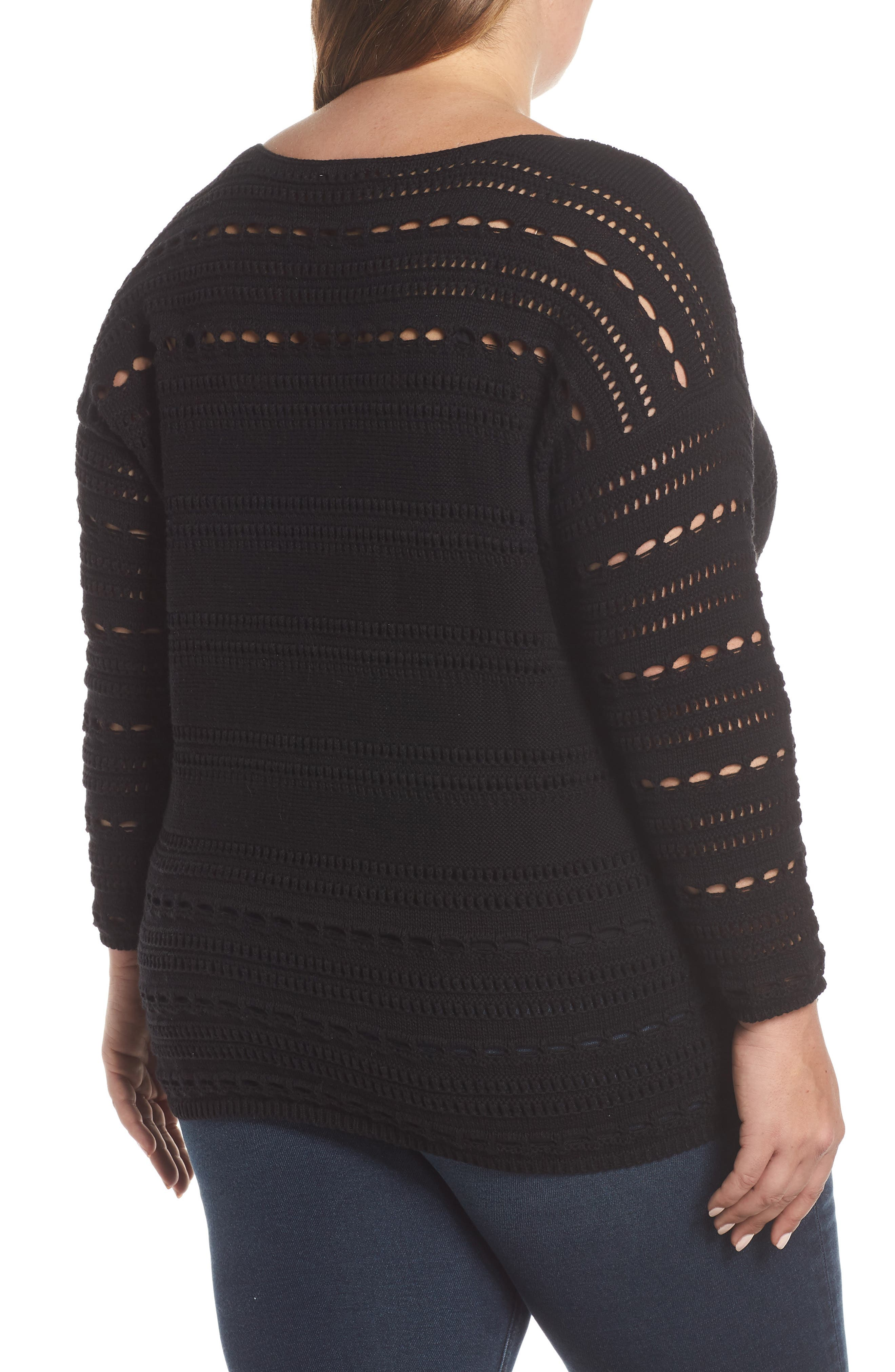Open Stitch Cotton Sweater,                             Alternate thumbnail 2, color,                             RICH BLACK