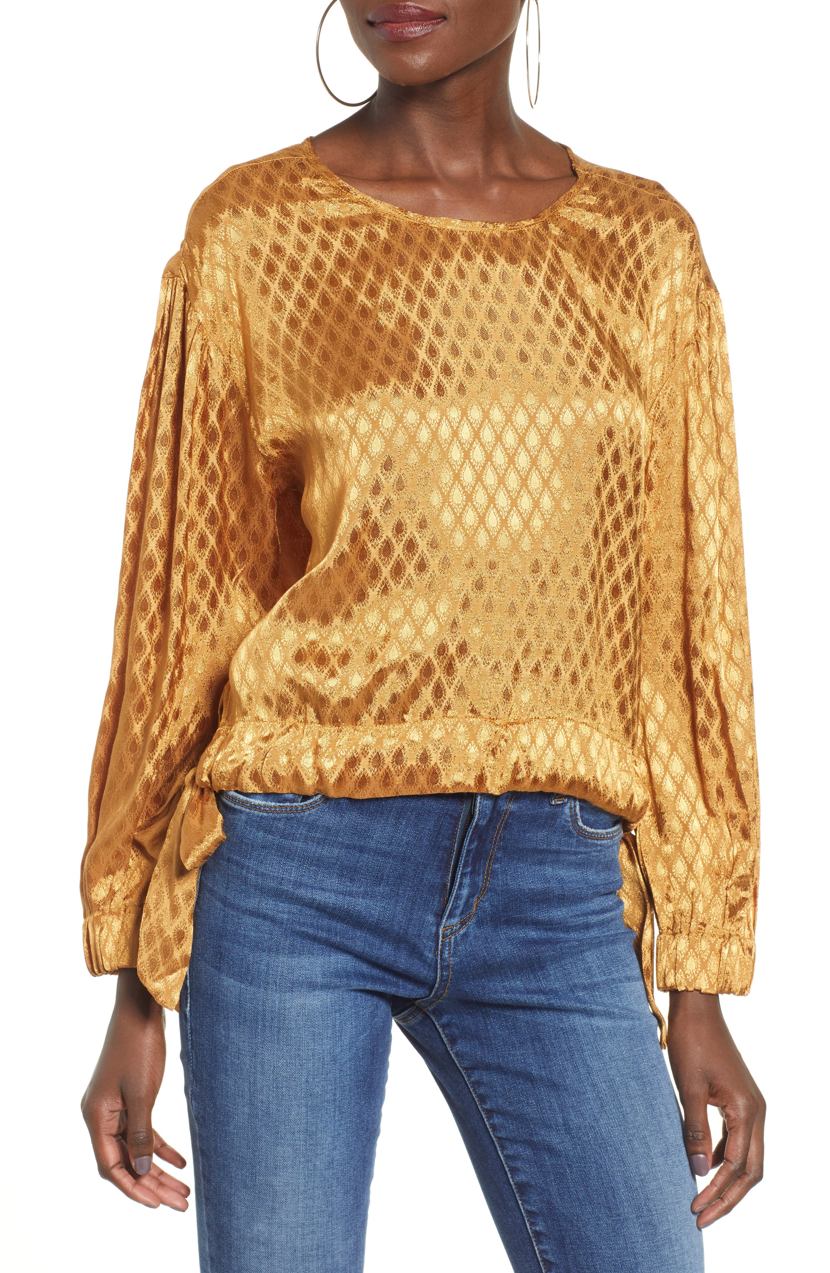 Reed Jacquard Top,                         Main,                         color, GOLD