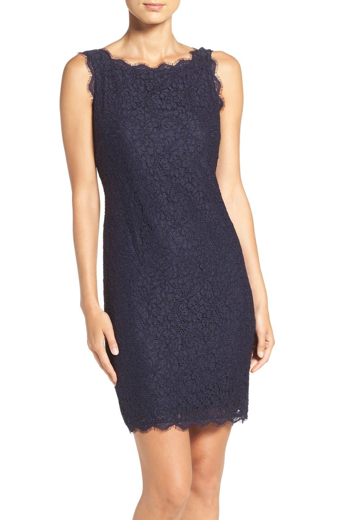 Boatneck Lace Sheath Dress,                             Main thumbnail 14, color,