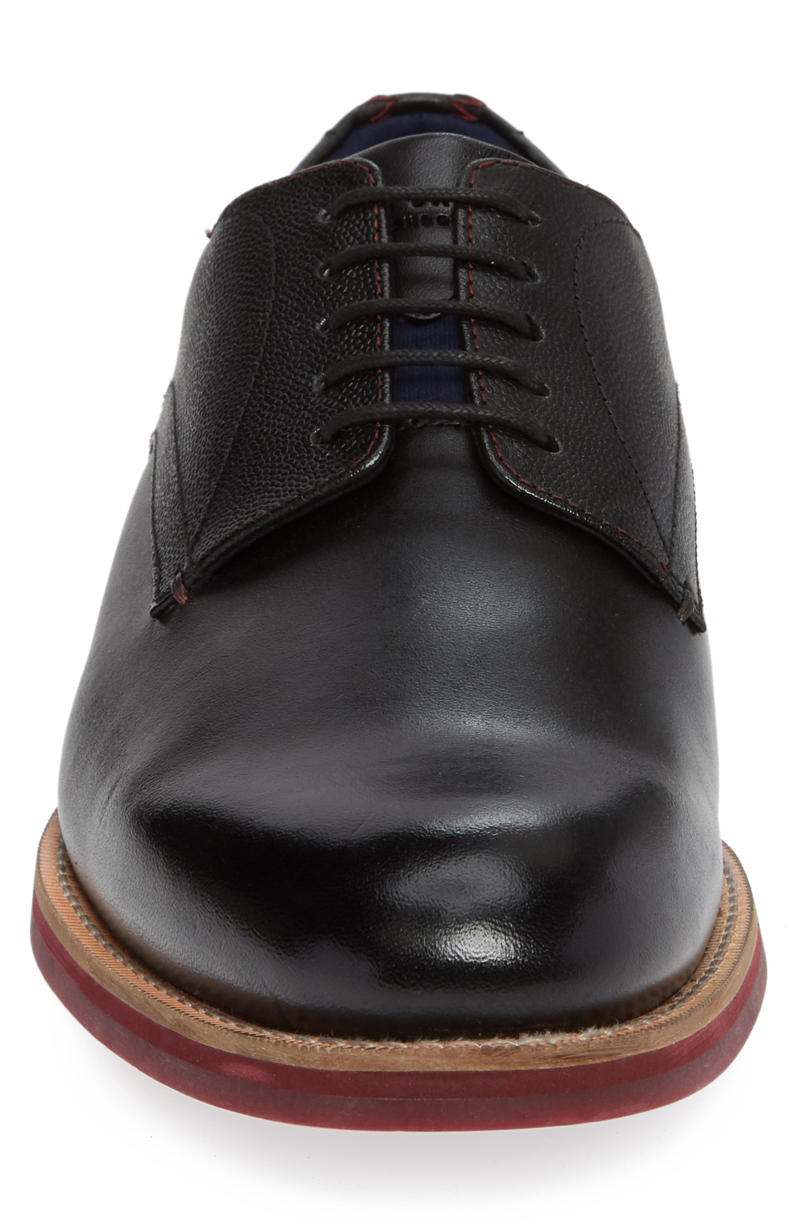 Jhorge Plain Toe Derby,                             Alternate thumbnail 4, color,                             BLACK LEATHER
