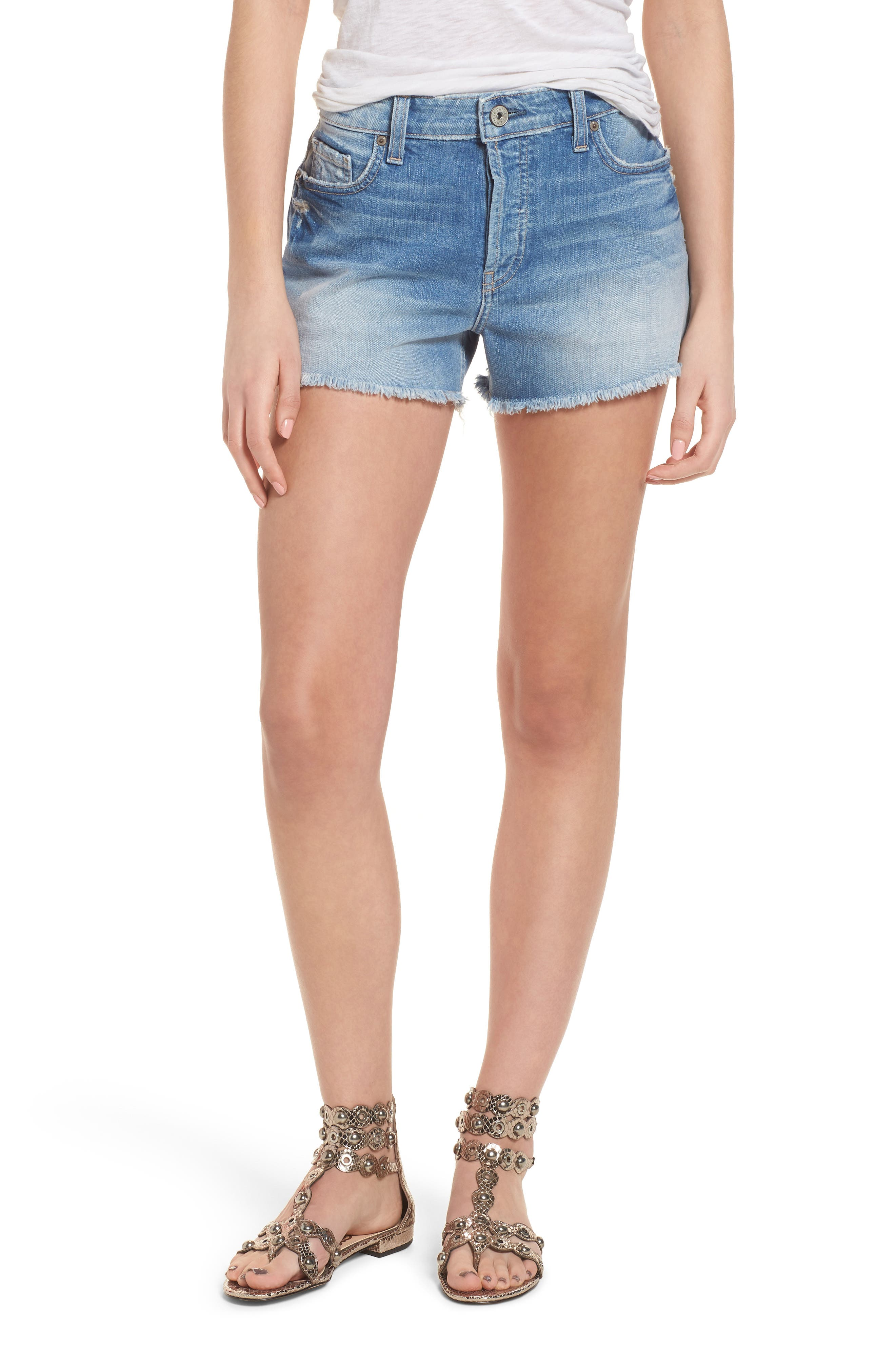 Emmitt High Waist Cutoff Denim Shorts,                         Main,                         color, JANIS DESTRUCTED