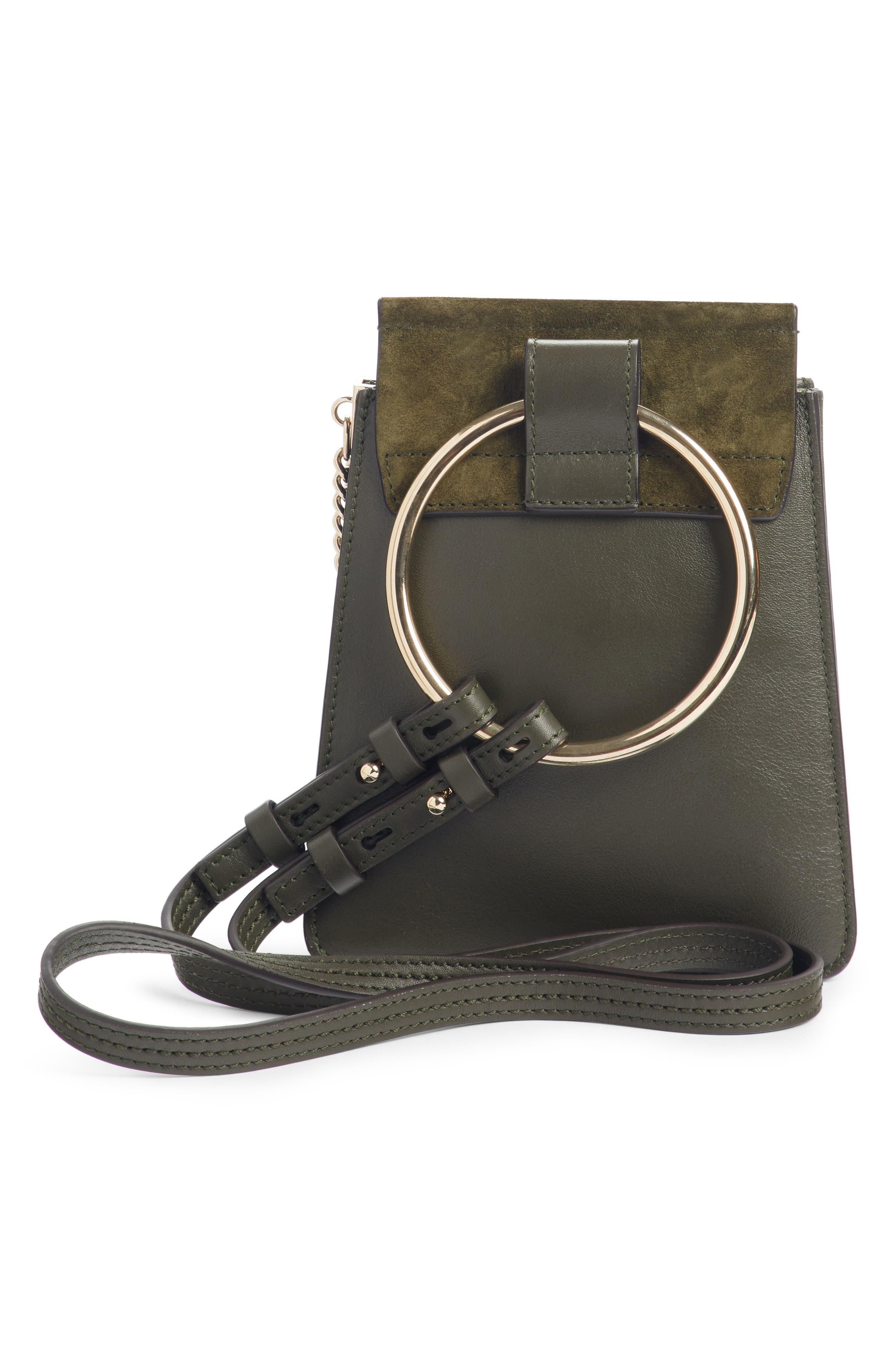 Faye Small Suede & Leather Bracelet Bag,                             Alternate thumbnail 3, color,                             301