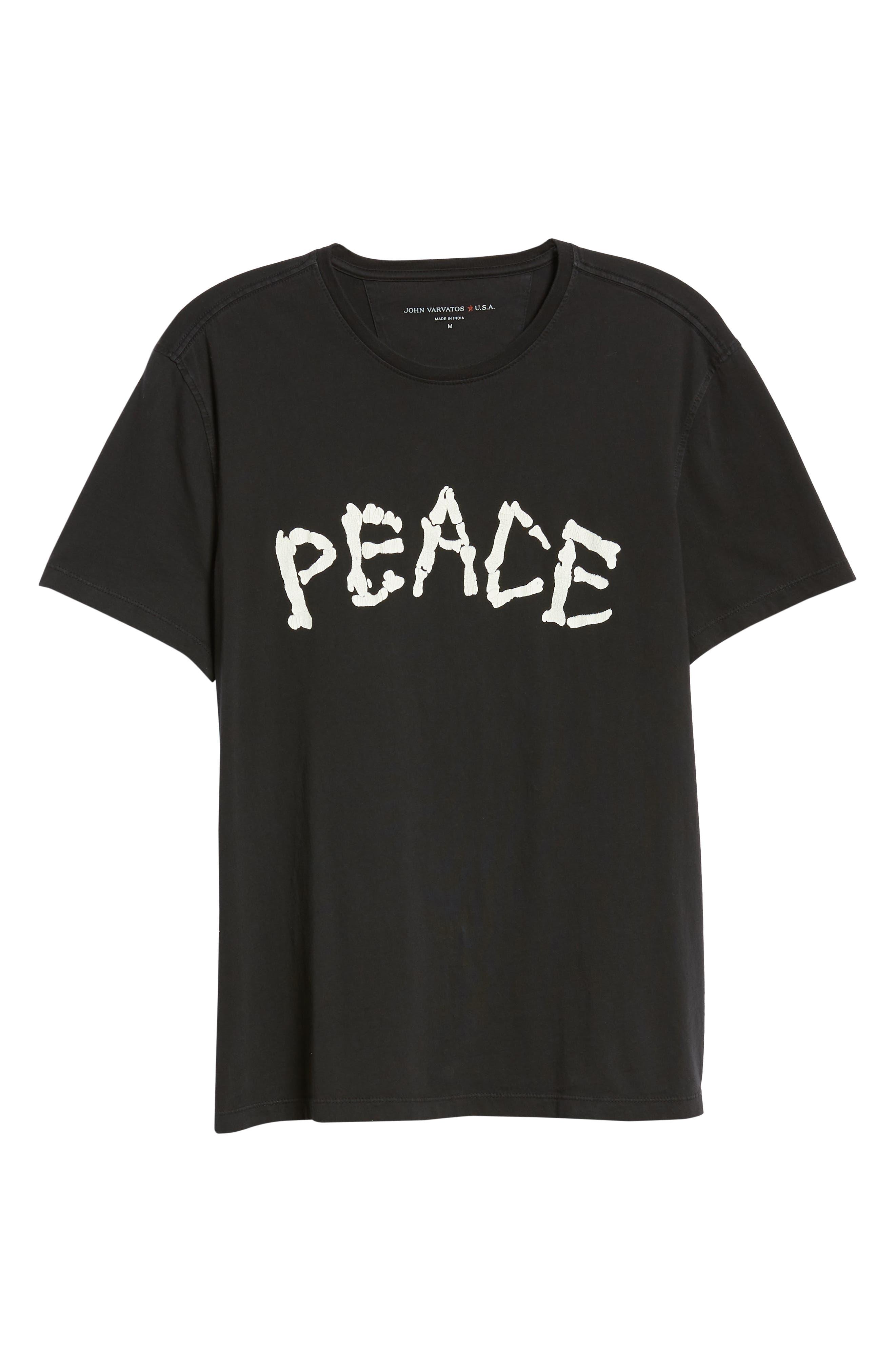 Skeleton Peace Graphic T-Shirt,                             Alternate thumbnail 6, color,                             BLACK