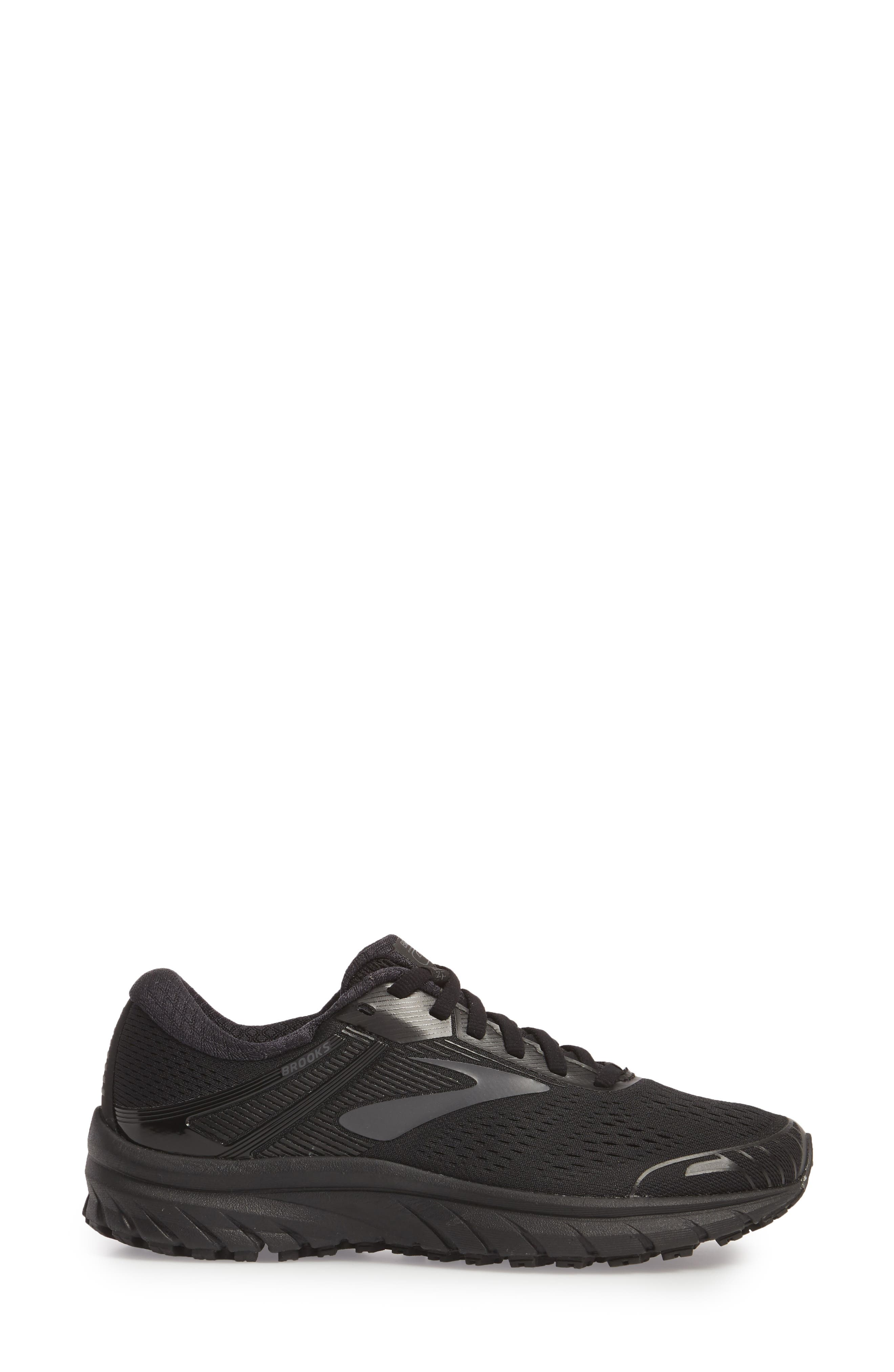 Adrenaline GTS 18 Running Shoe,                             Alternate thumbnail 3, color,                             BLACK/ BLACK