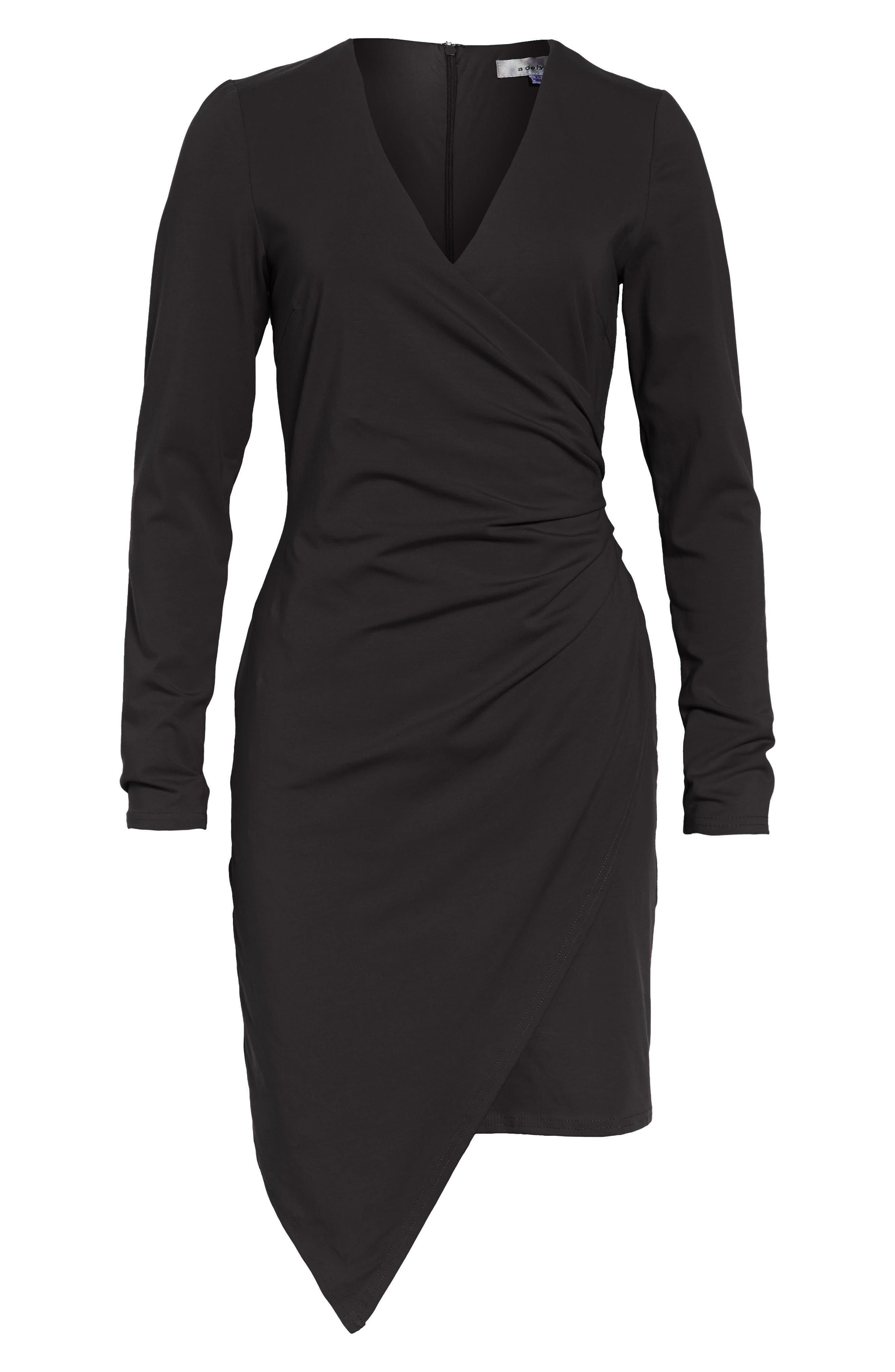 Long Sleeve Faux Wrap Dress,                         Main,                         color, 001