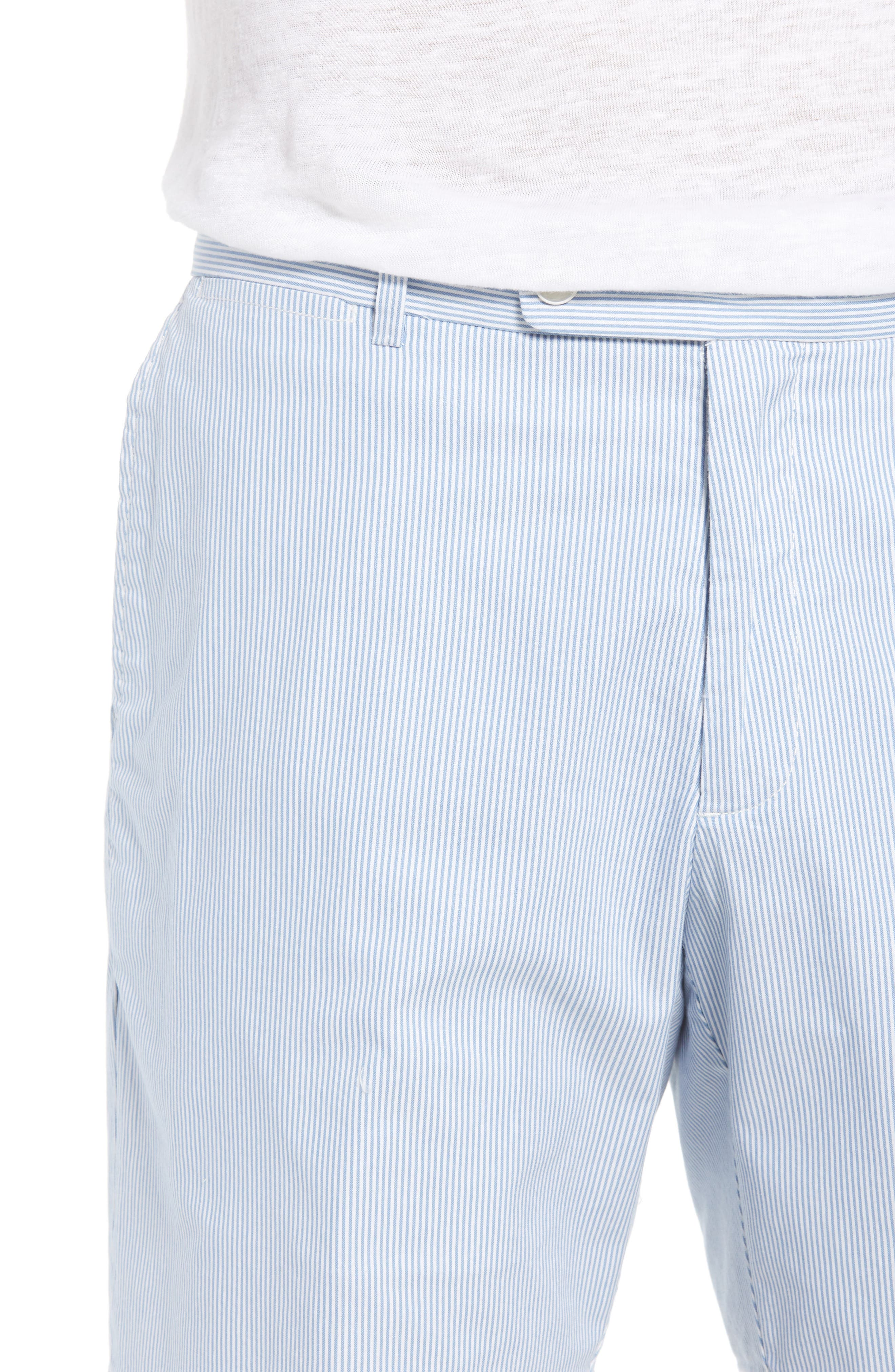 Summer Pinstripe Flat Front Shorts,                             Alternate thumbnail 4, color,                             439