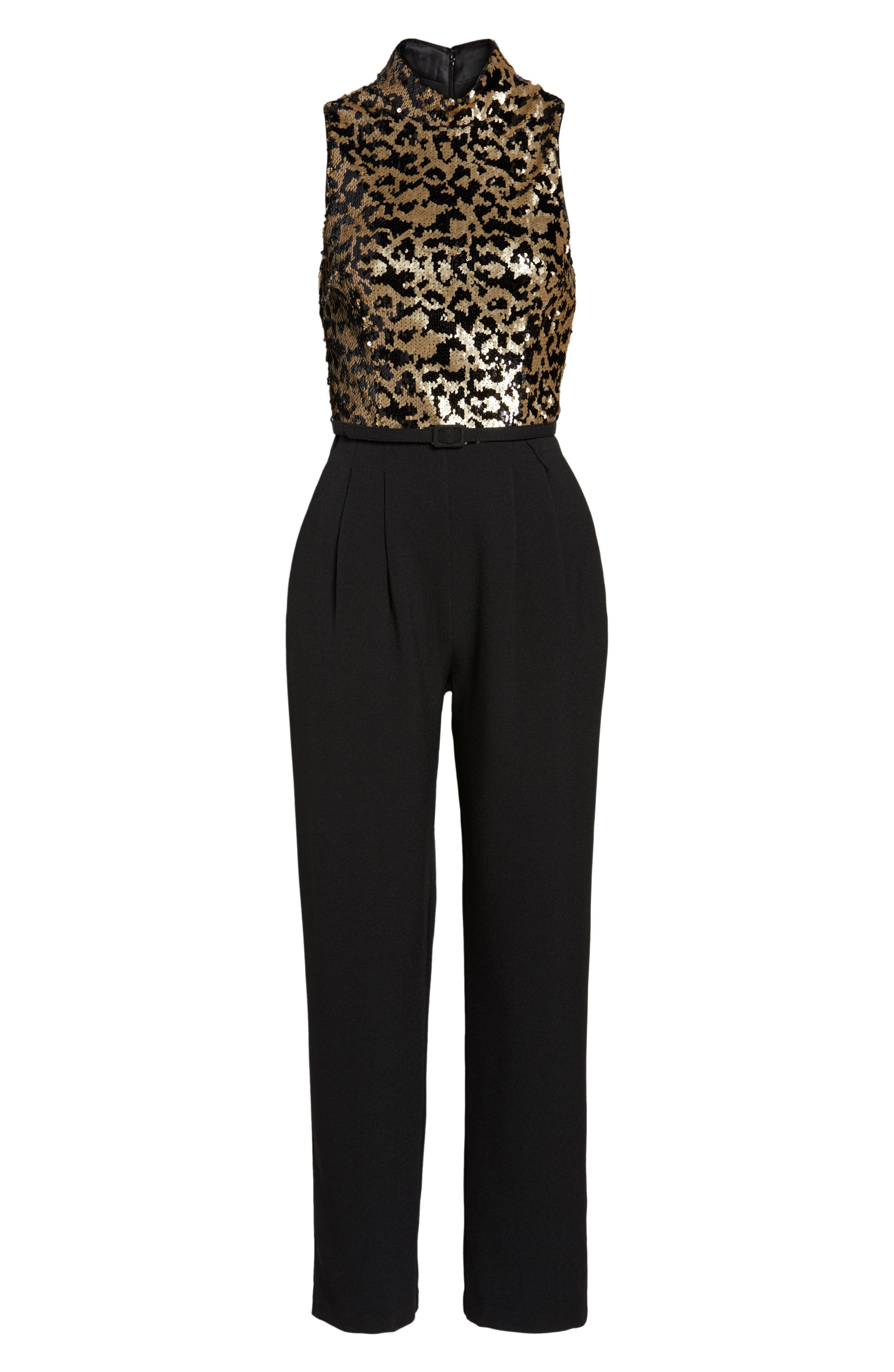 Sequin Leopard Bodice Belted Jumpsuit,                             Alternate thumbnail 6, color,                             008