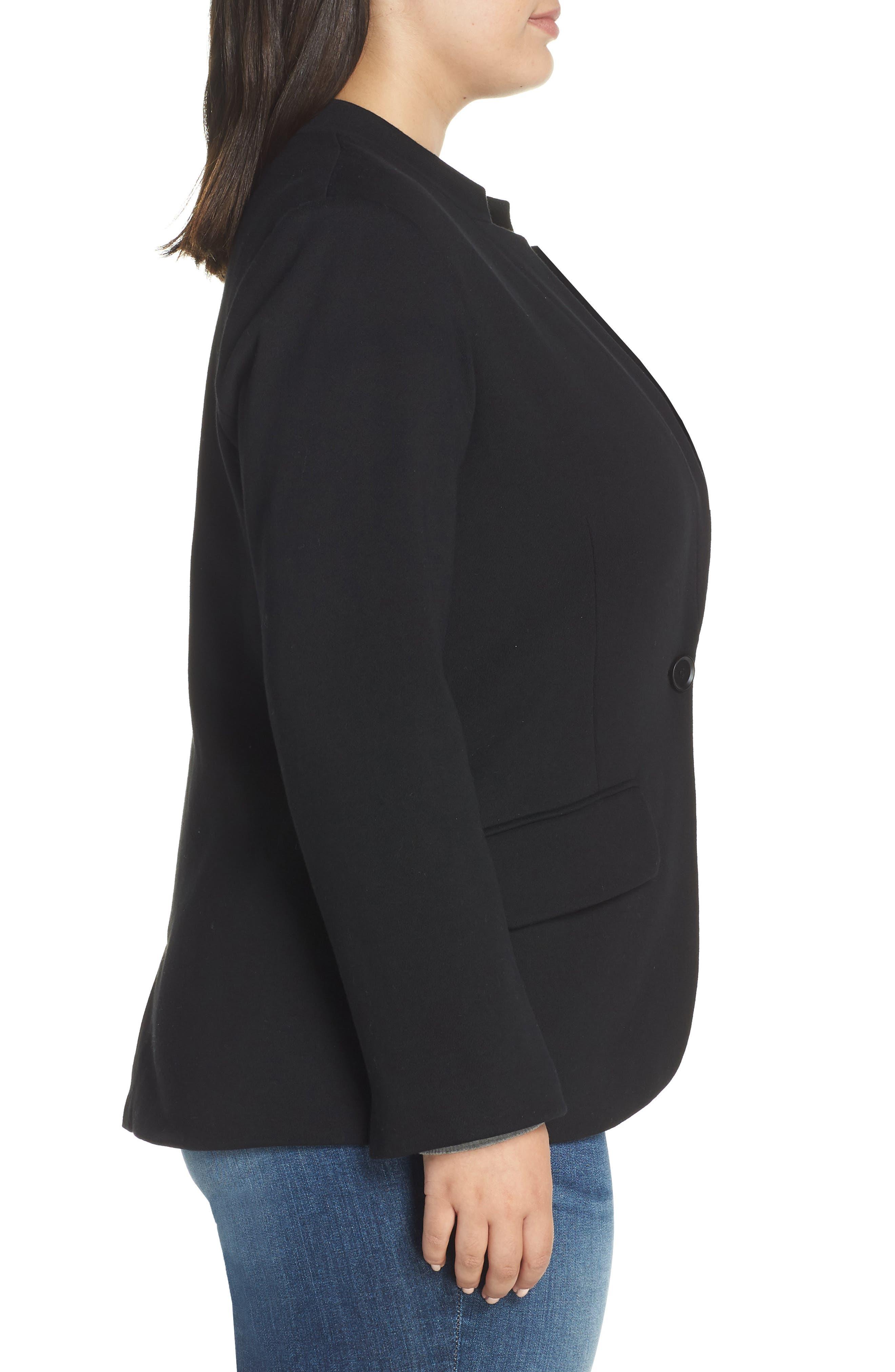 GIBSON,                             Inverted Notch Collar Cotton Blend Blazer,                             Alternate thumbnail 3, color,                             BLACK