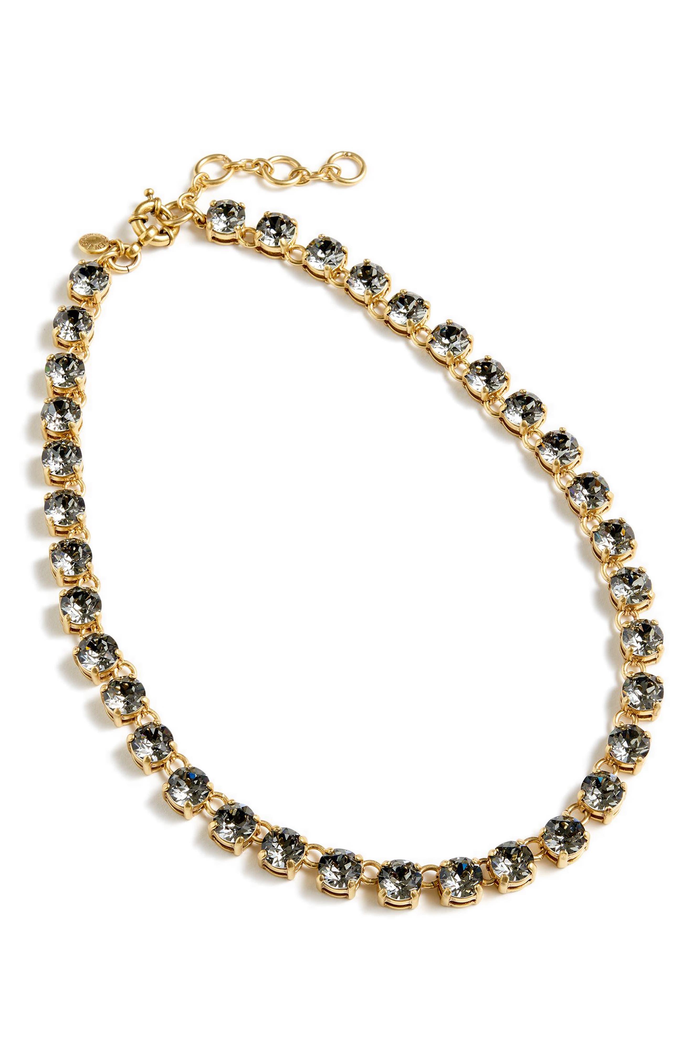 J.CREW Swarovski Crystal Dot Necklace in Heather Mink