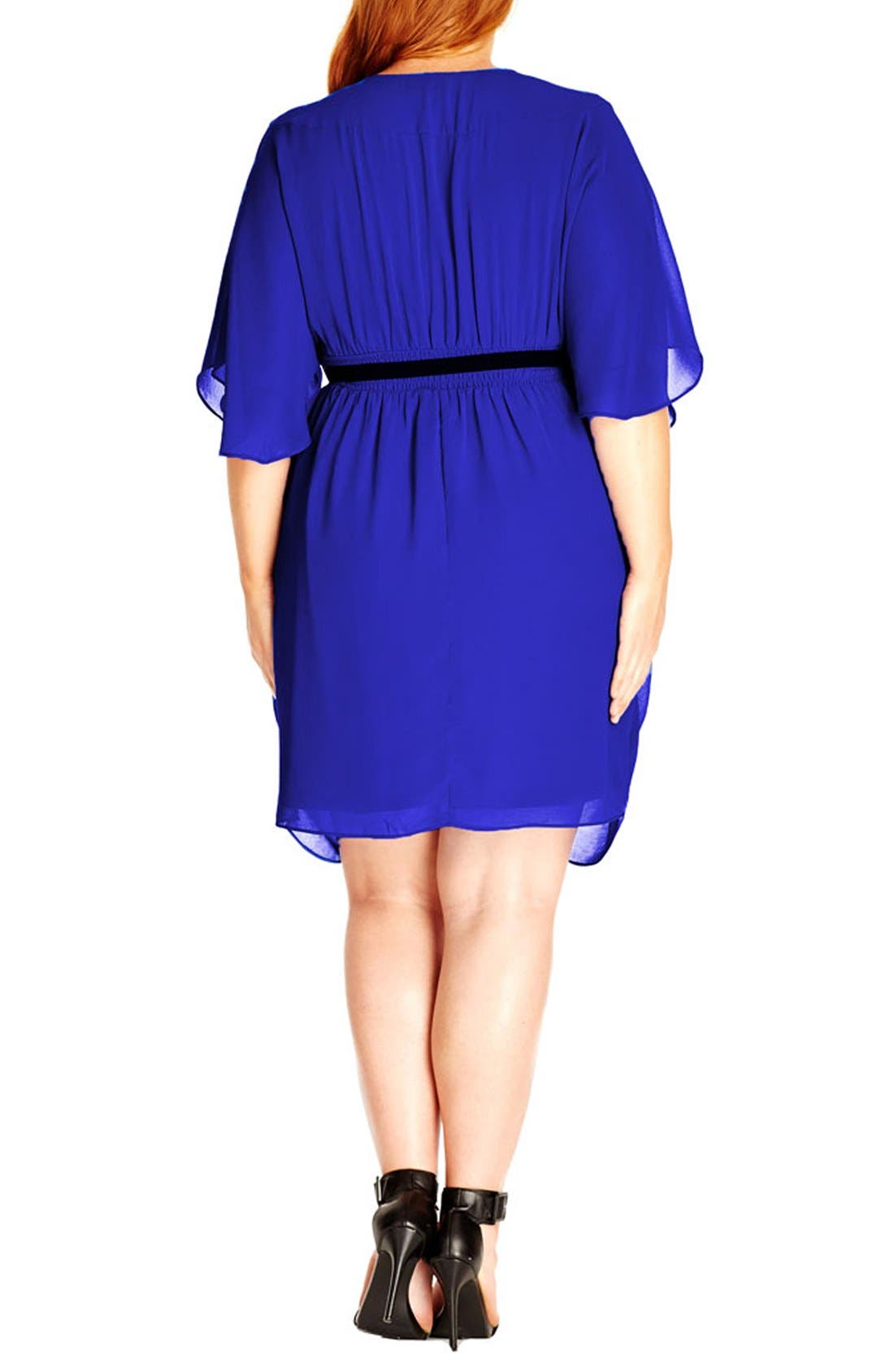 'Colour Wrap' Surplice Dress,                             Alternate thumbnail 2, color,                             ULTRA BLUE
