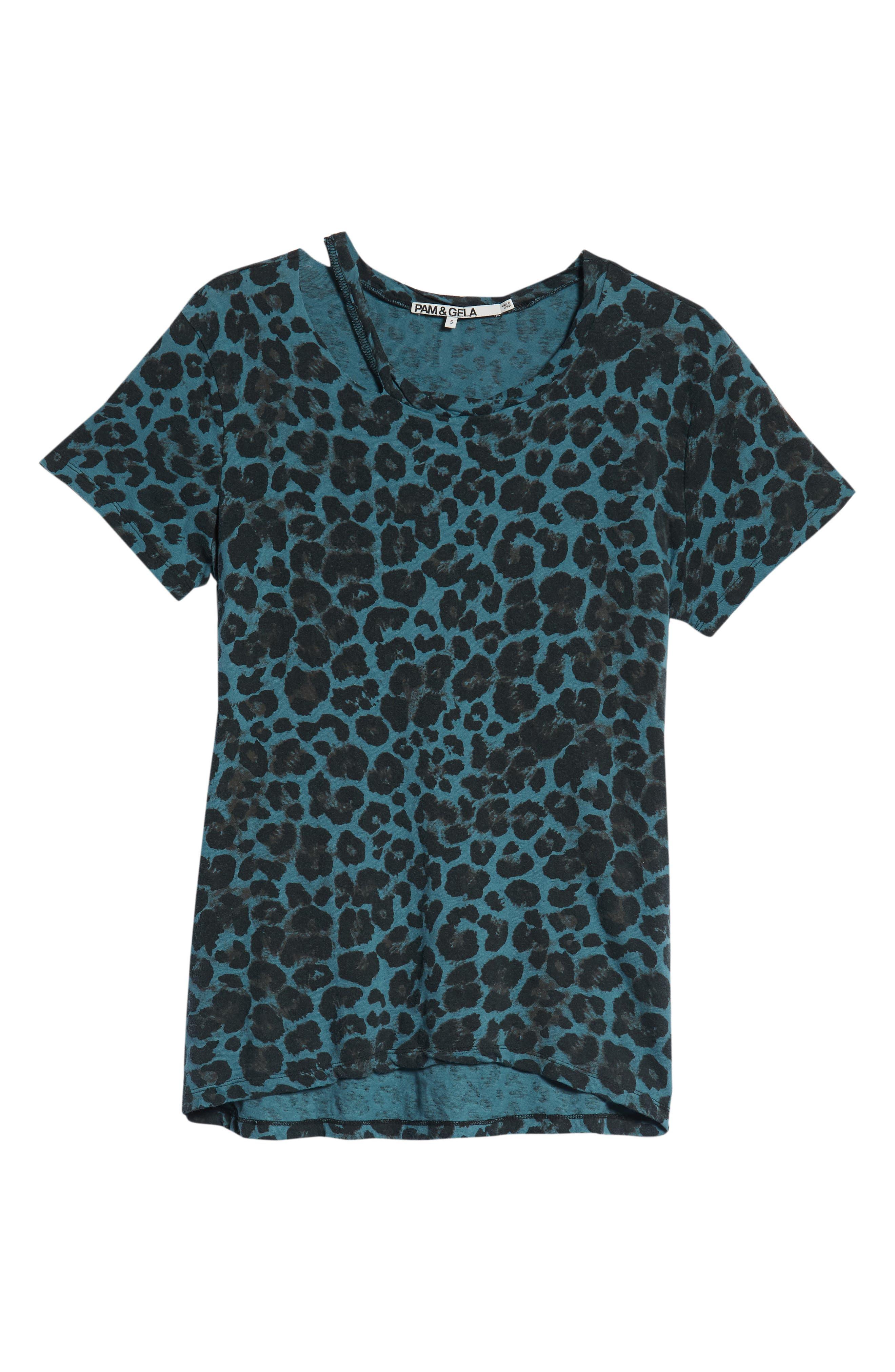 Leopard Print Cutout Tee,                             Alternate thumbnail 6, color,                             BLUE LEOPARD PRINT