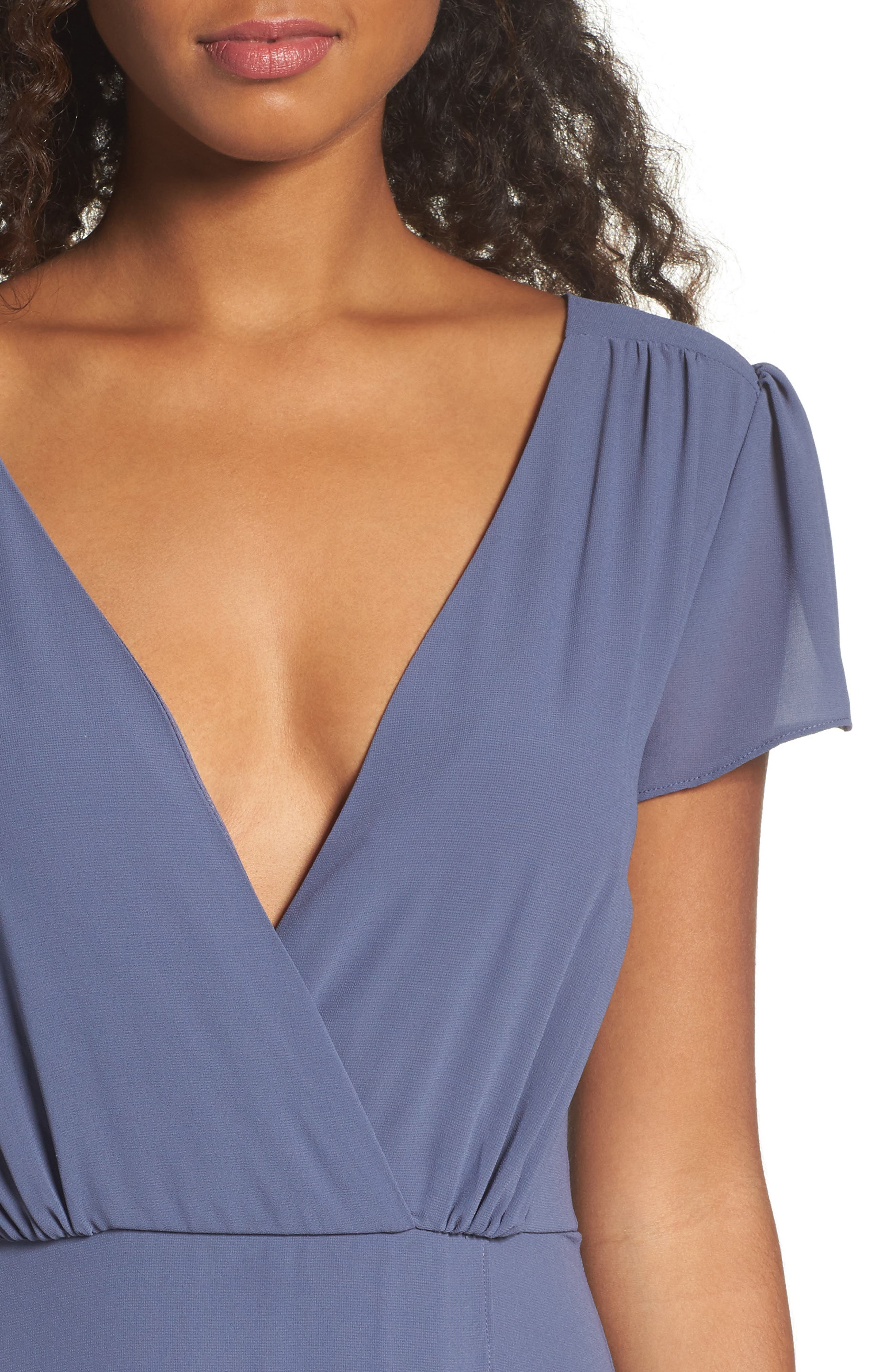 Lace-Up Back Chiffon Gown,                             Alternate thumbnail 7, color,