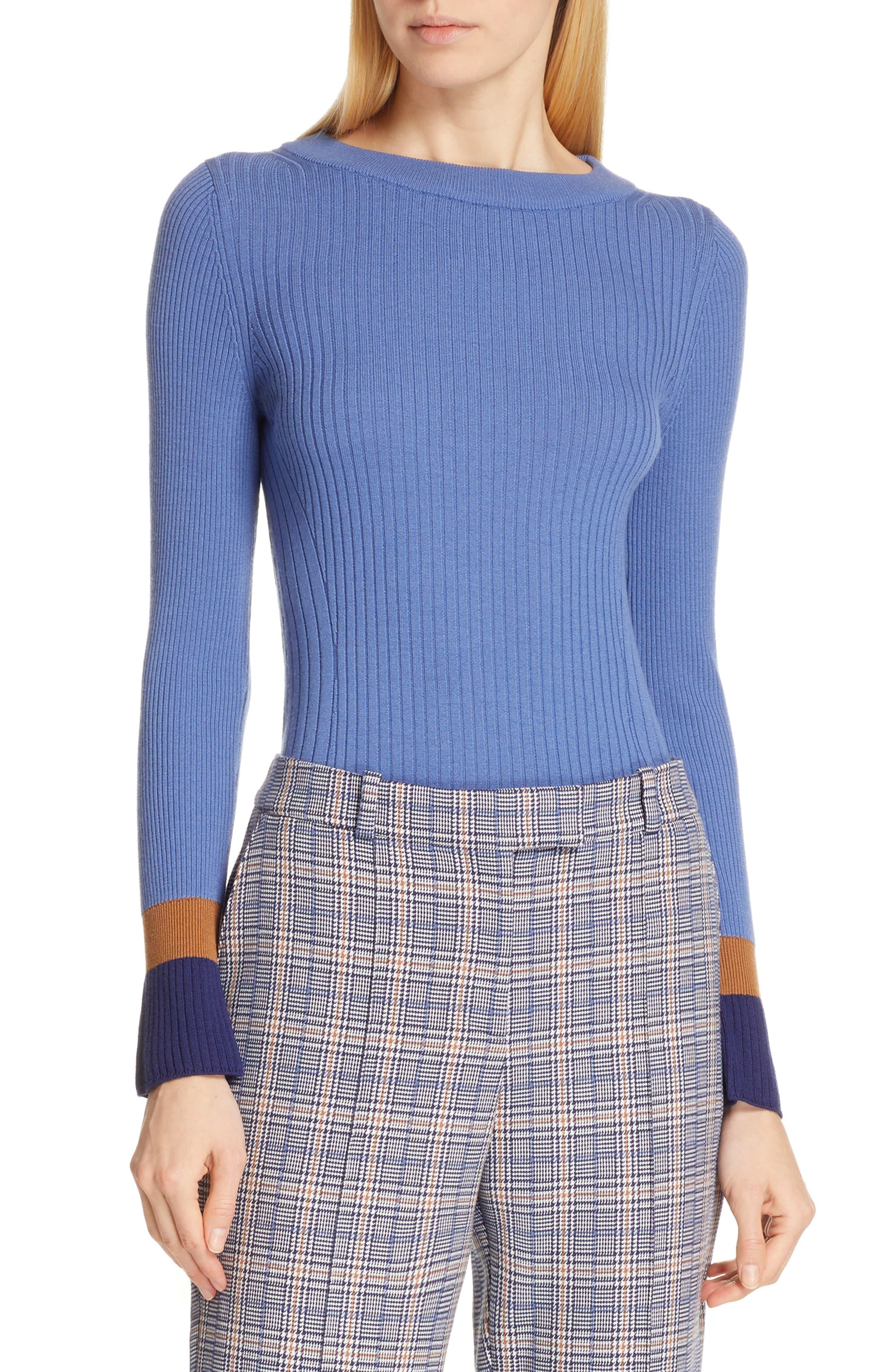 BOSS Fadeline Blue Fantasy Ribbed Wool Sweater in Soft Blue Fantasy