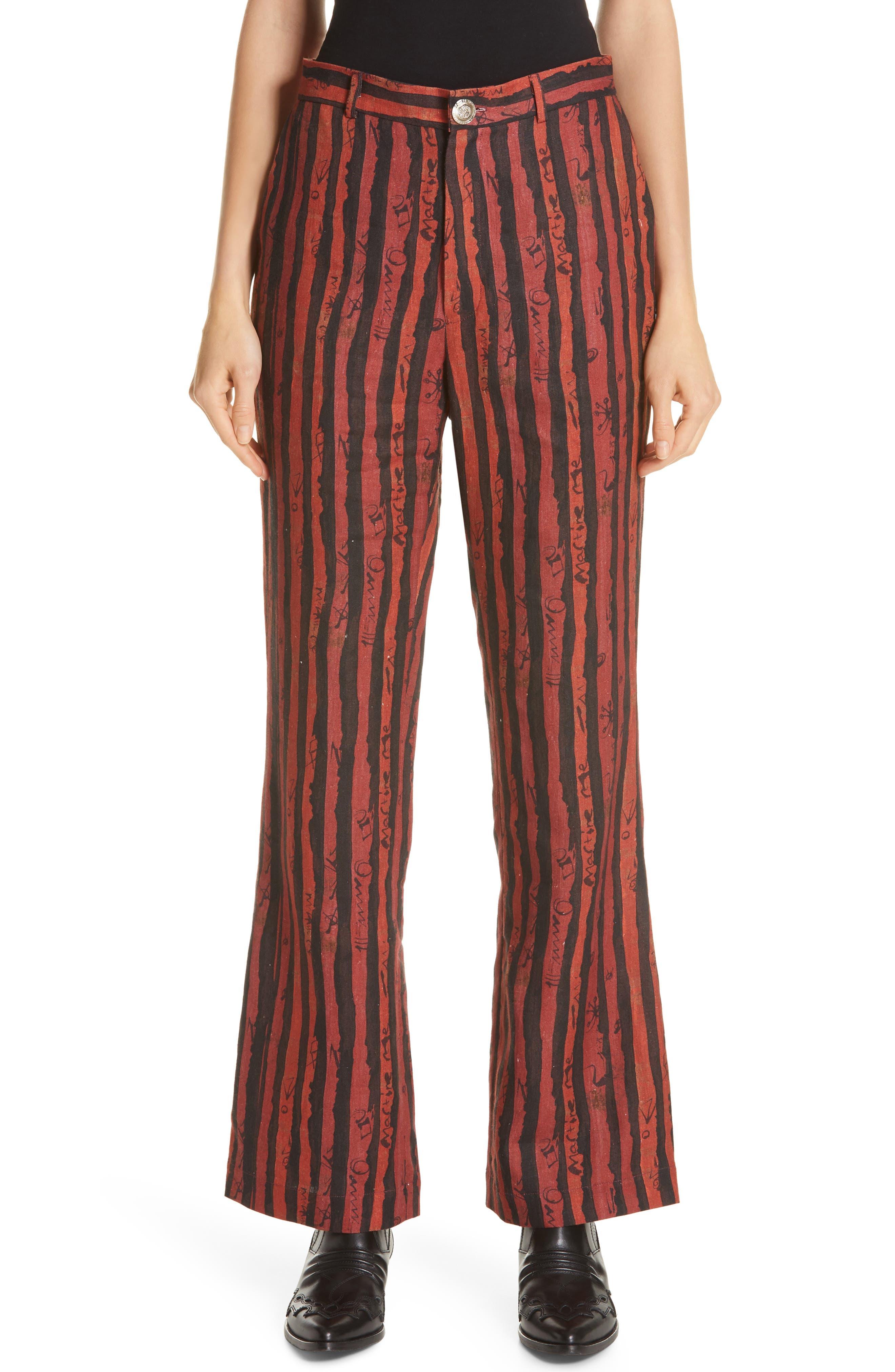 Martine Rose Flare Leg Linen Pants, Red