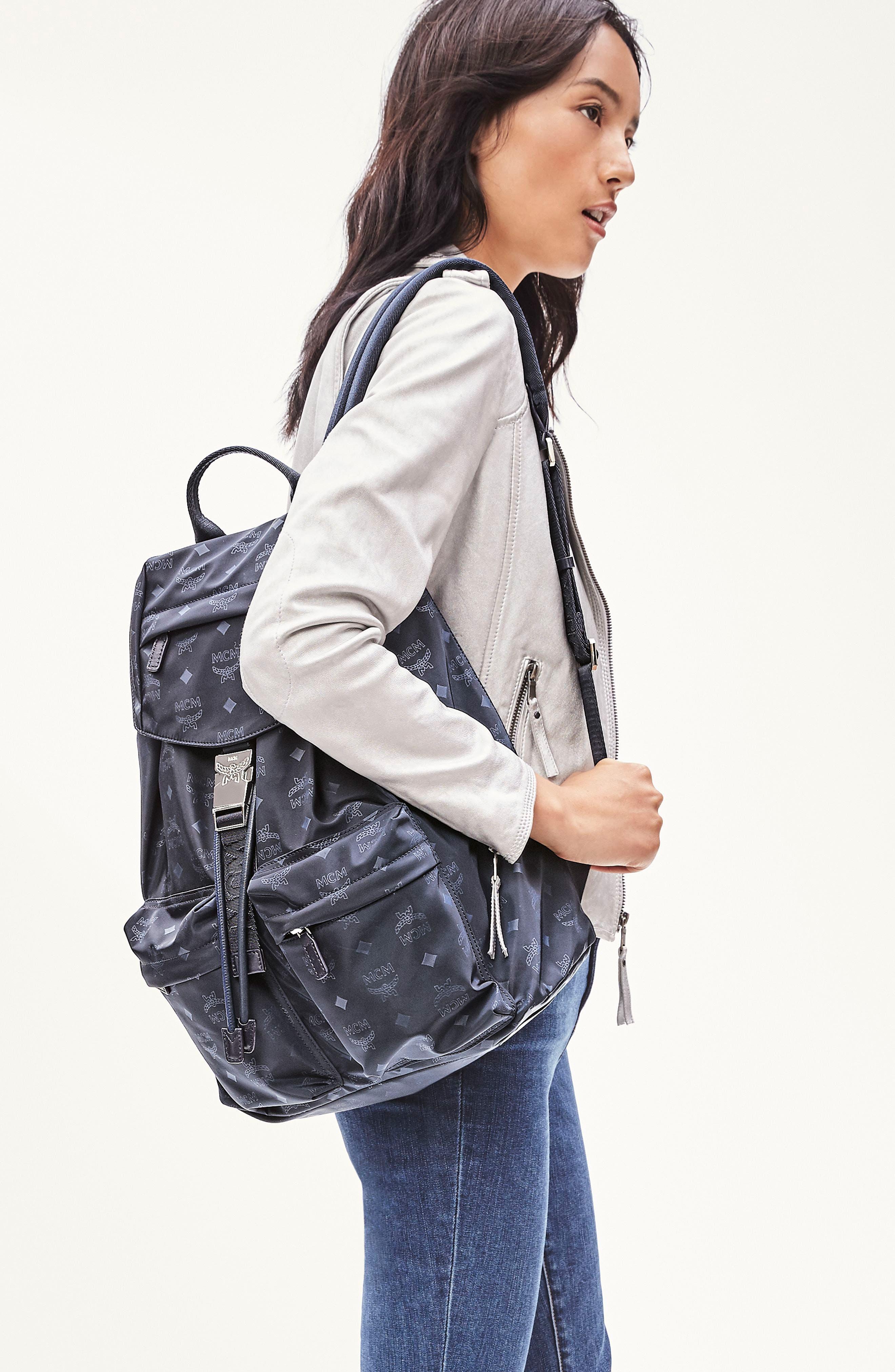 Large Dieter Monogrammed Nylon Backpack,                         Main,                         color, NAVY BLUE