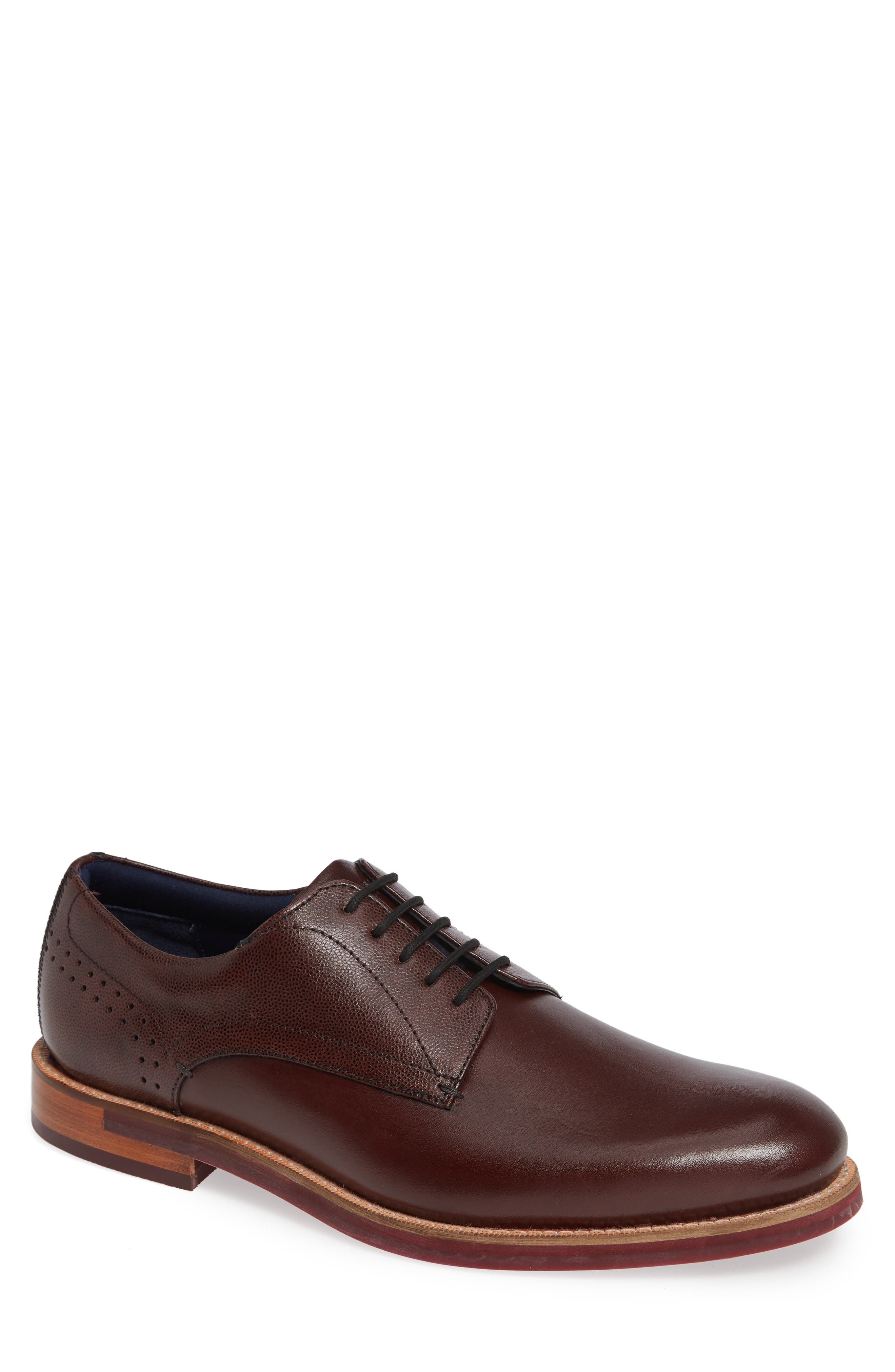 TED BAKER Men'S Jhorge Mixed Leather Plain-Toe Oxfords in Dark Red Leather