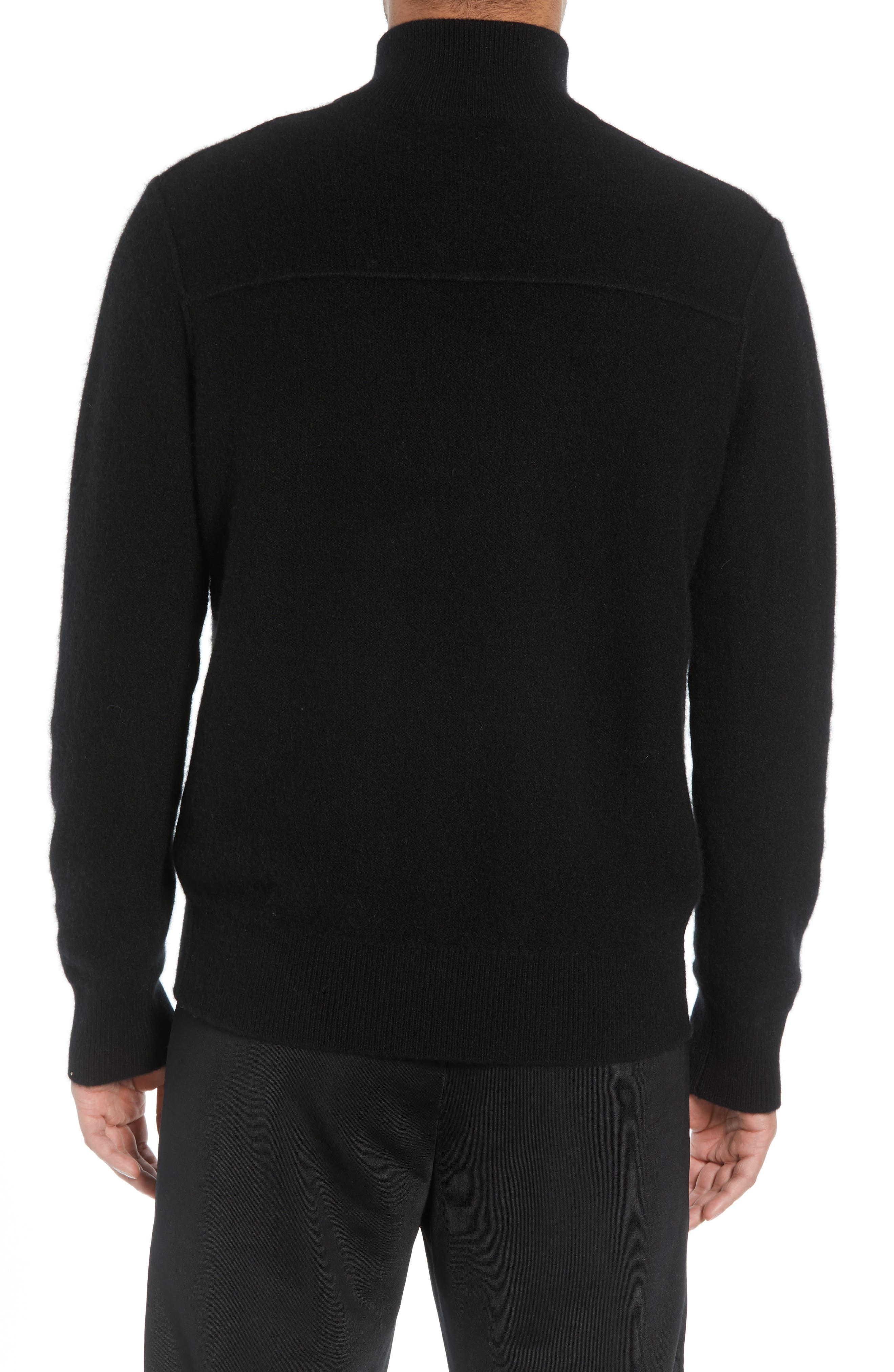 Regular Fit Half Zip Cashmere Sweater,                             Alternate thumbnail 2, color,                             001