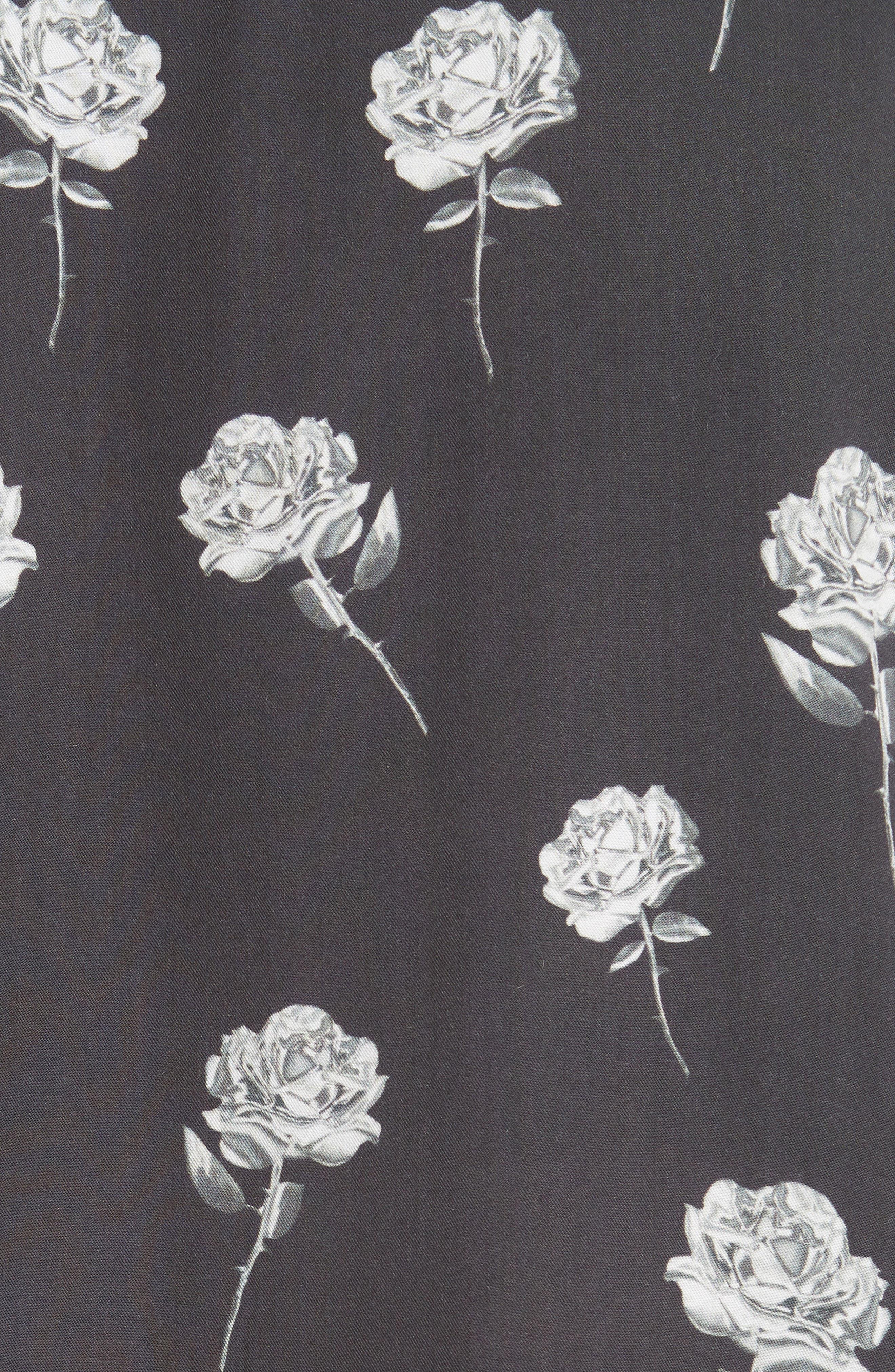 Chrome Rose Print Shirt,                             Alternate thumbnail 5, color,                             BROWN