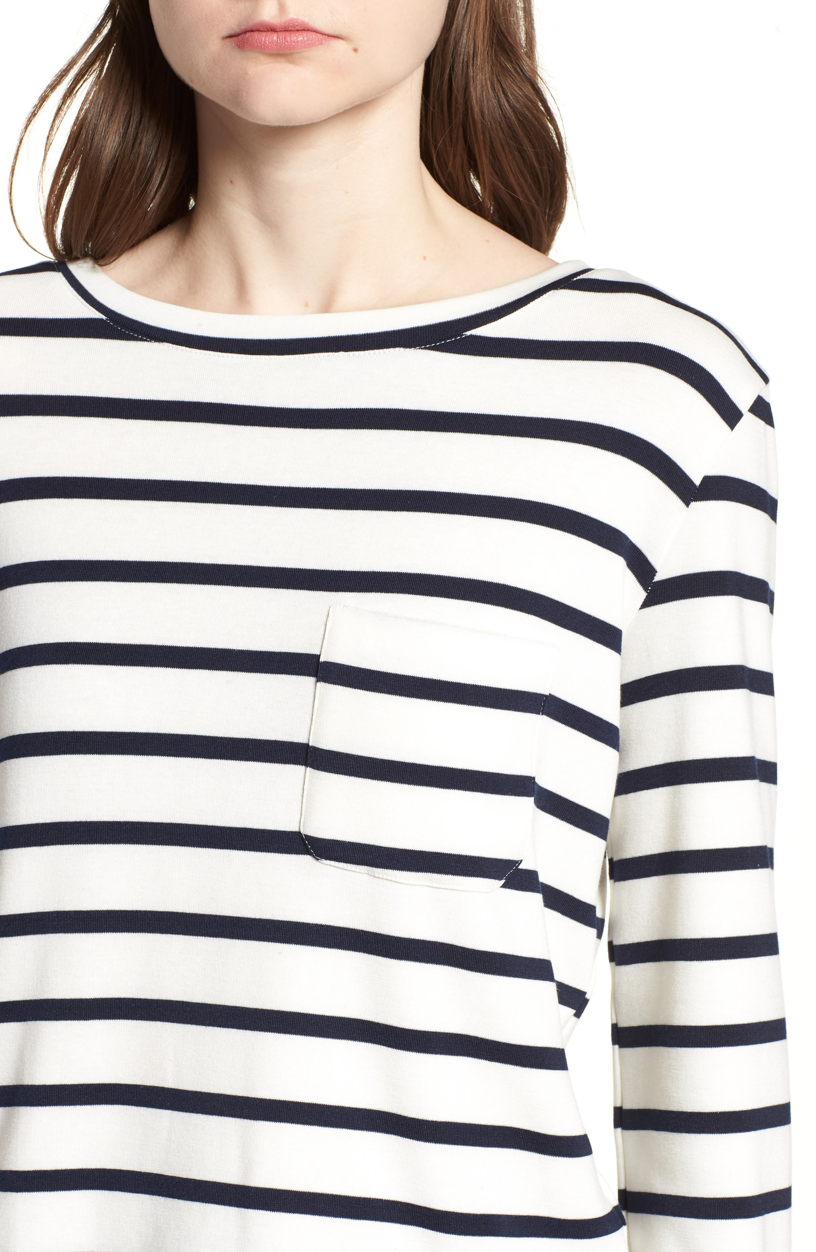 Bishop + Young Stripe Lace-Up Back Top,                             Alternate thumbnail 4, color,                             011