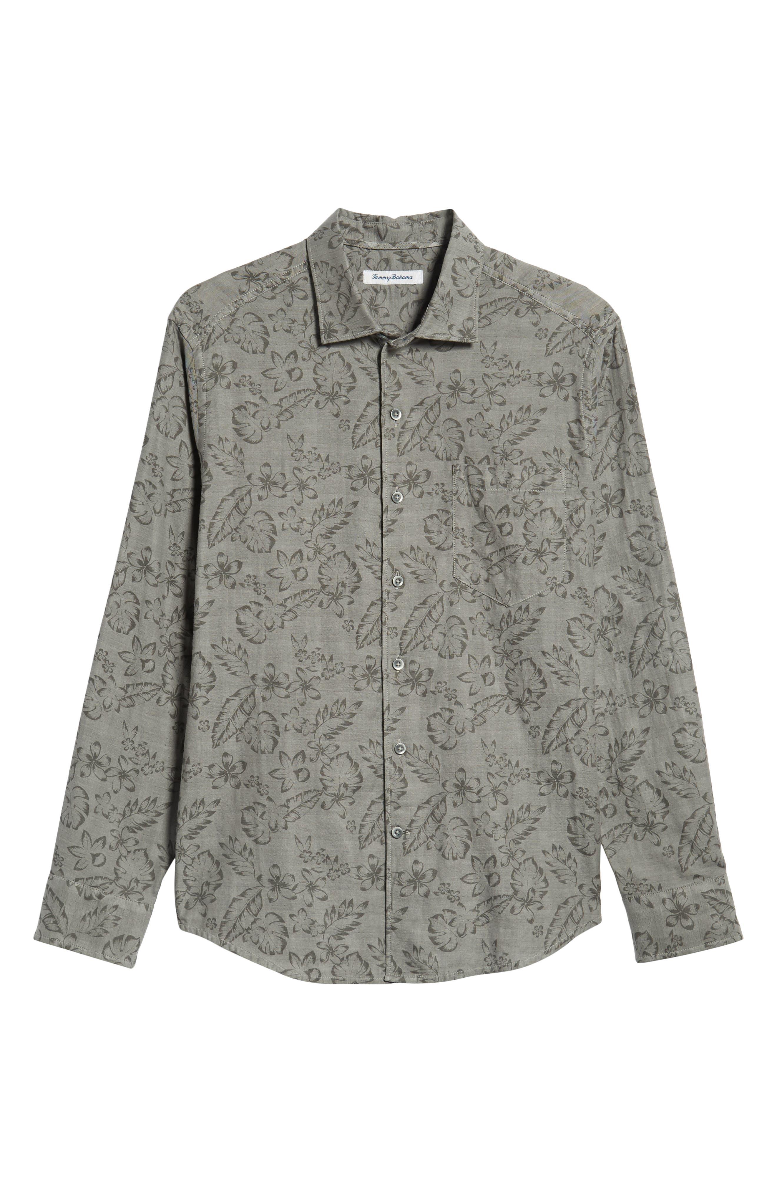 Check Back Regular Fit Tropical Shirt,                             Alternate thumbnail 5, color,                             ARGENT