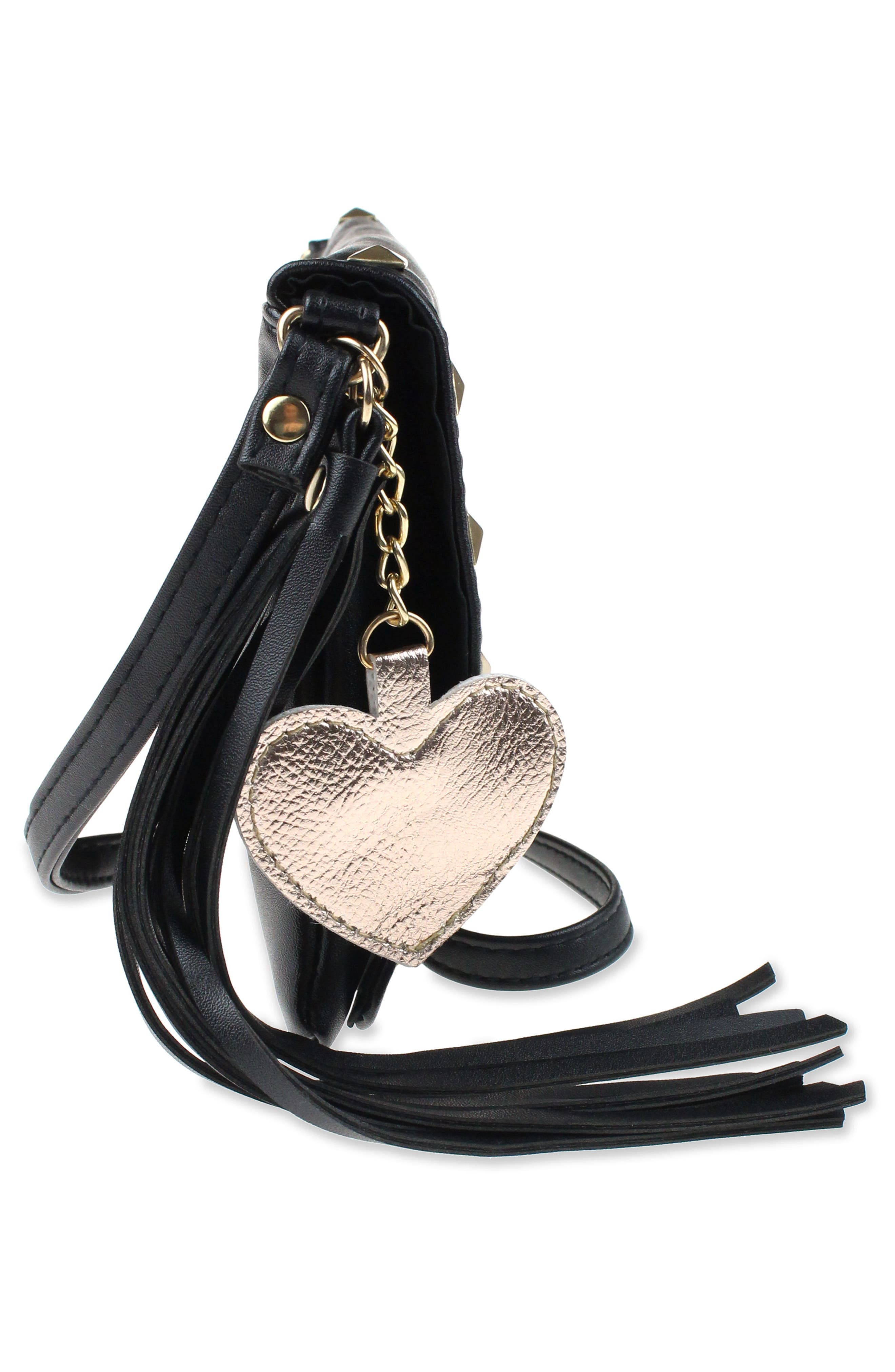 Studded Faux Leather Crossbody Bag,                             Alternate thumbnail 4, color,                             002