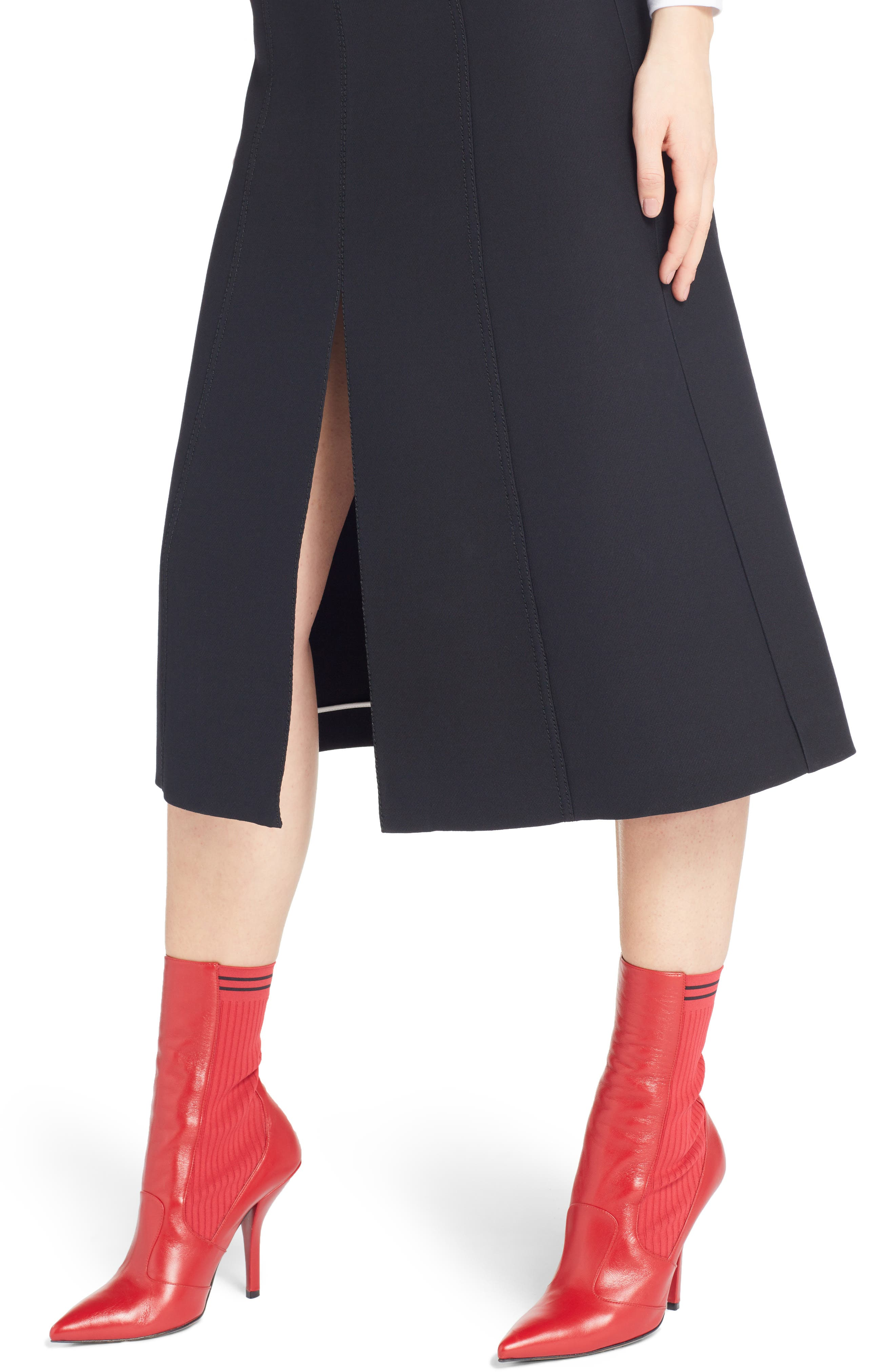 Wool & Silk Belted A-Line Skirt,                             Alternate thumbnail 4, color,                             001