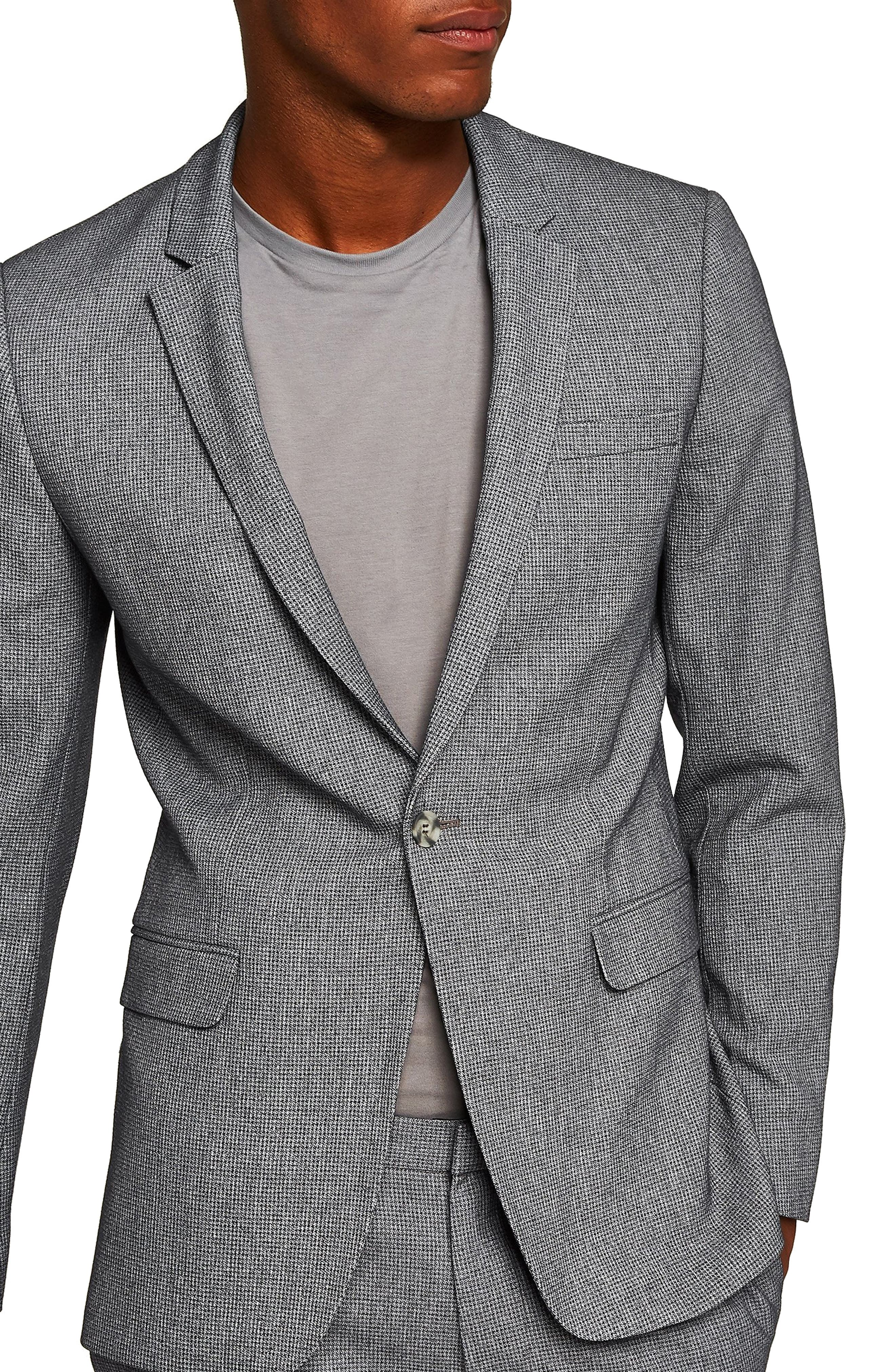 Ultra Skinny Fit Houndstooth Suit Jacket,                         Main,                         color, GREY