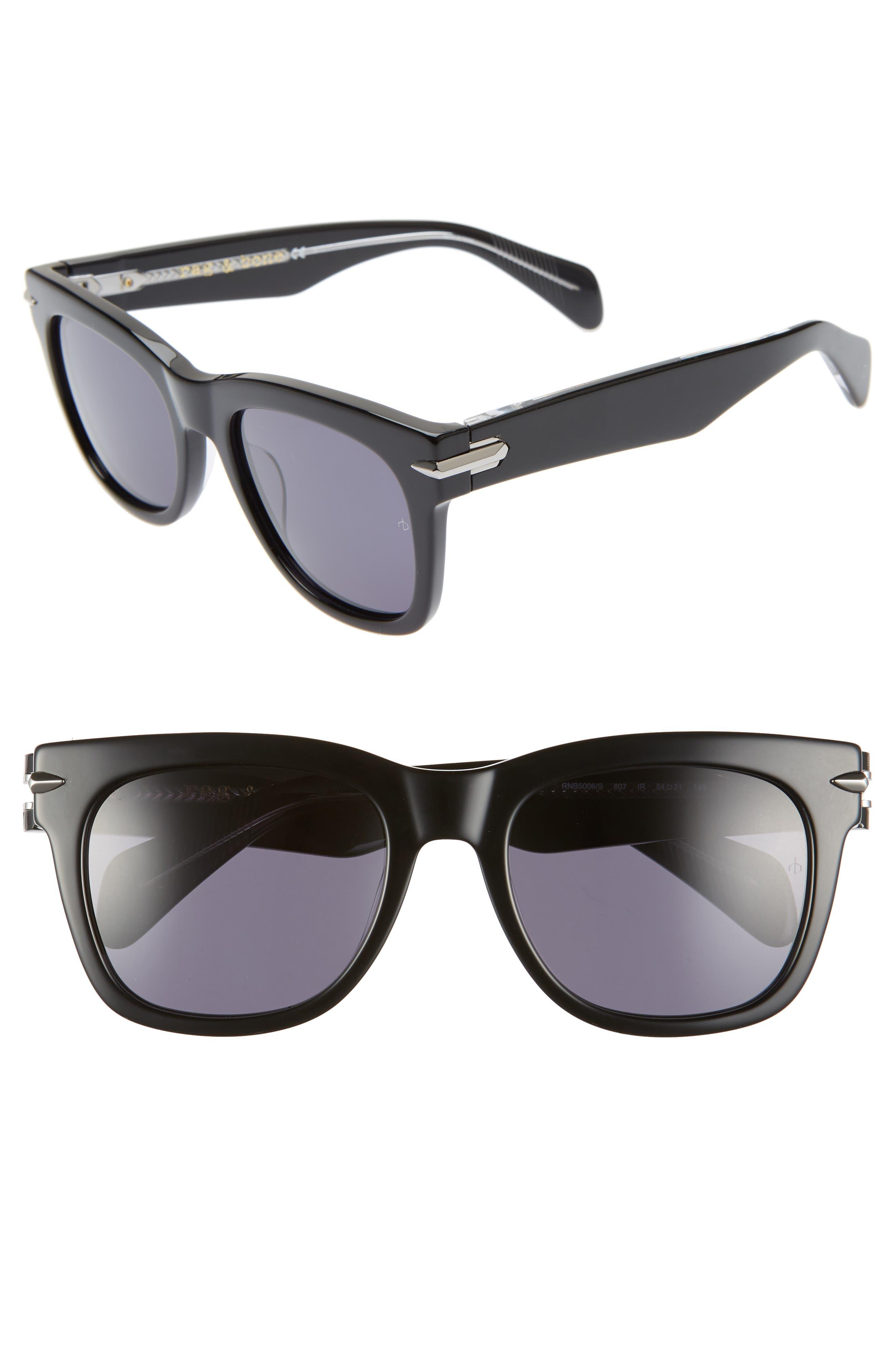 54mm Polarized Sunglasses,                             Main thumbnail 1, color,                             BLACK