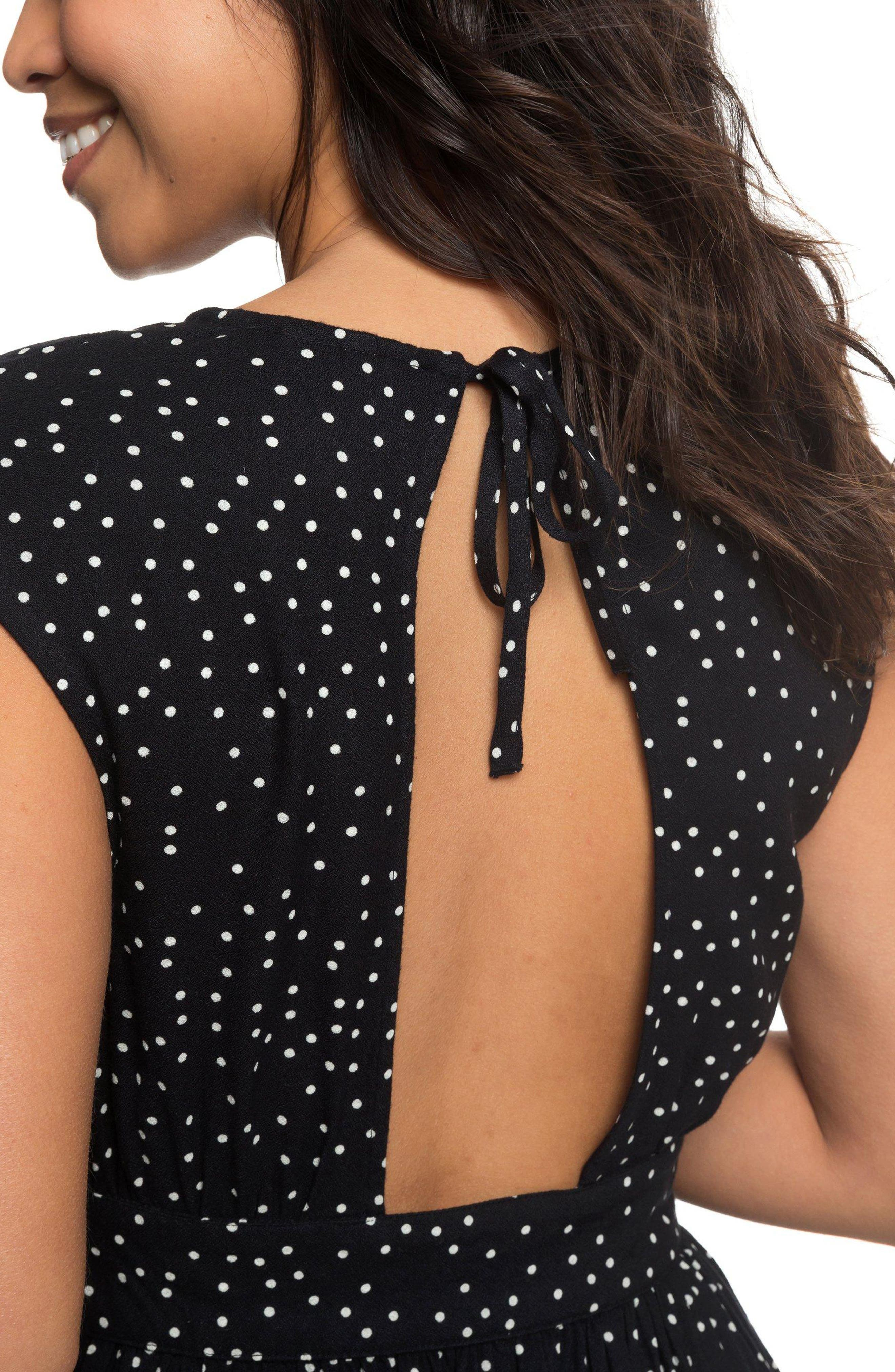Retro Poetic Polka Dot Dress,                             Alternate thumbnail 4, color,                             001