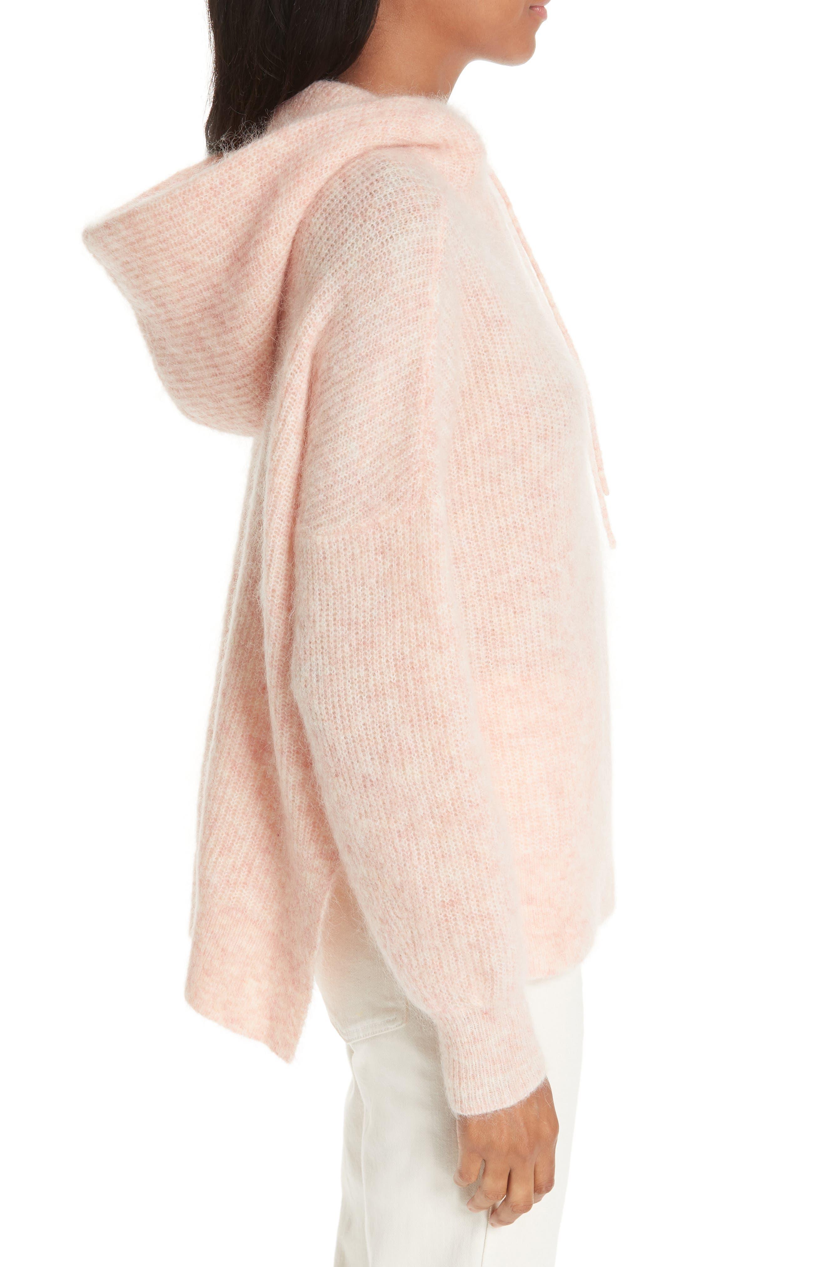 Soft Wool Blend Hoodie,                             Alternate thumbnail 3, color,                             SILVER PINK 499