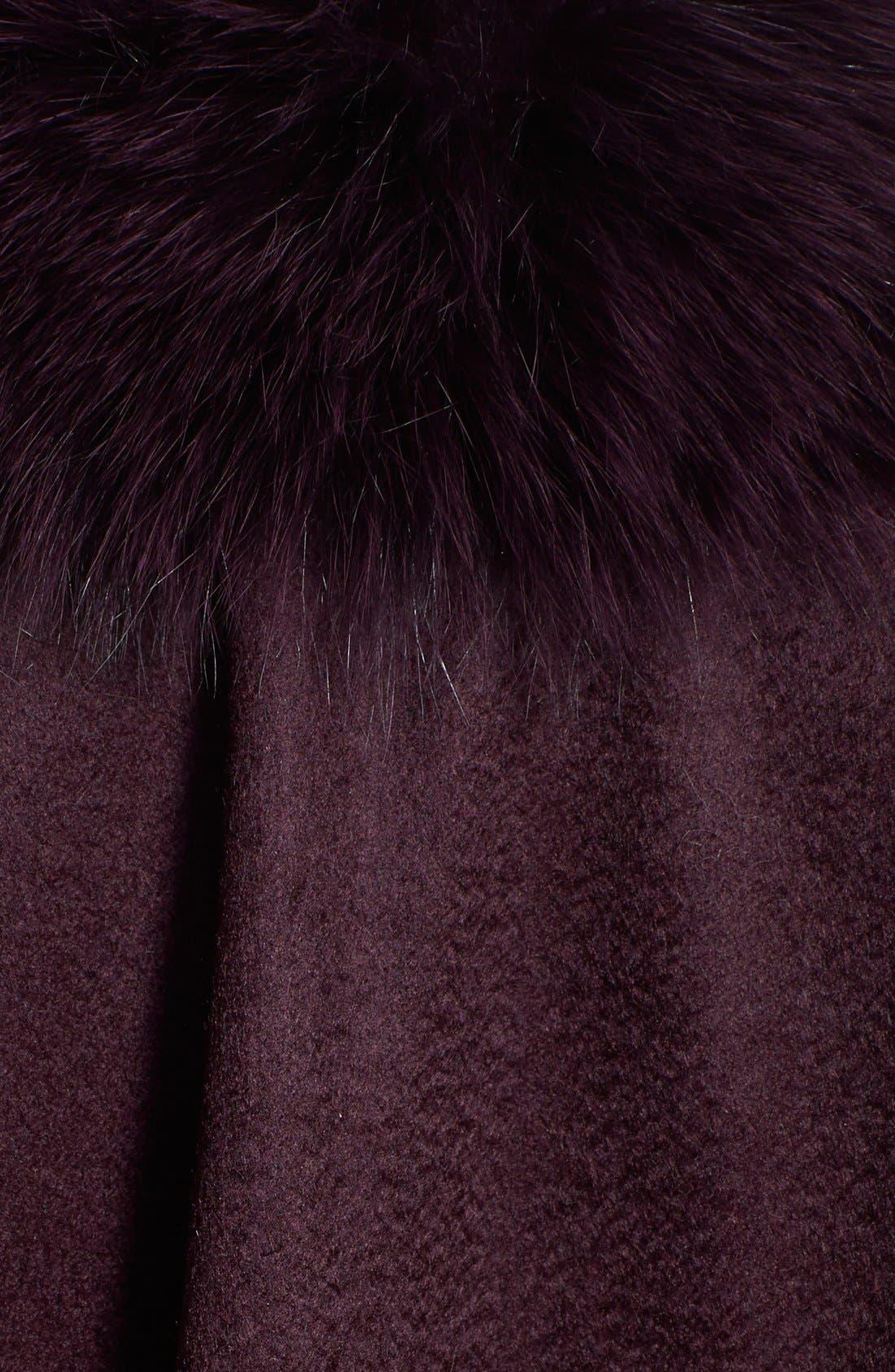 Genuine Fox Fur Trim Short Cashmere Cape,                             Alternate thumbnail 8, color,