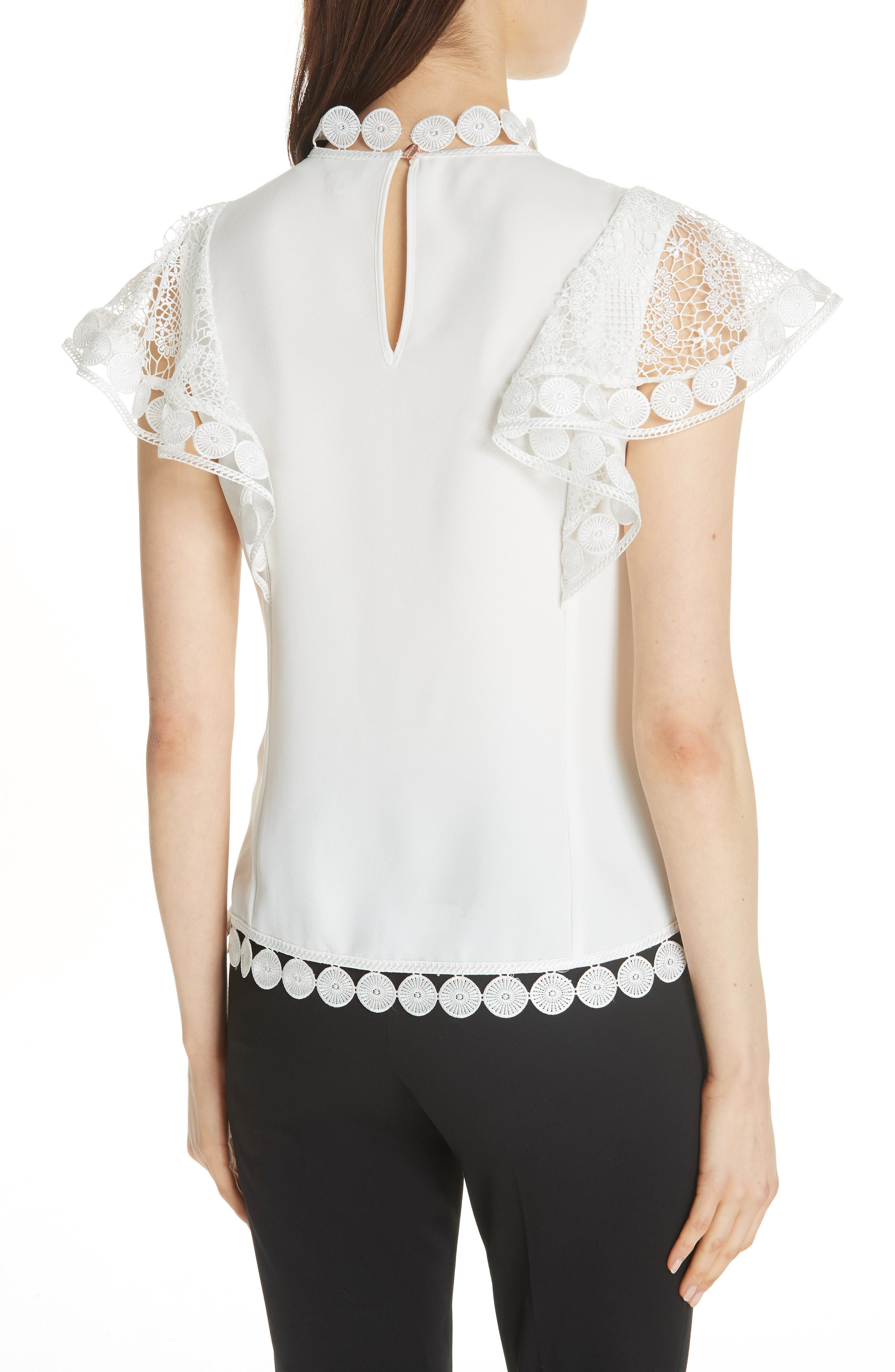 High Neck Lace Front Top,                             Alternate thumbnail 2, color,                             110