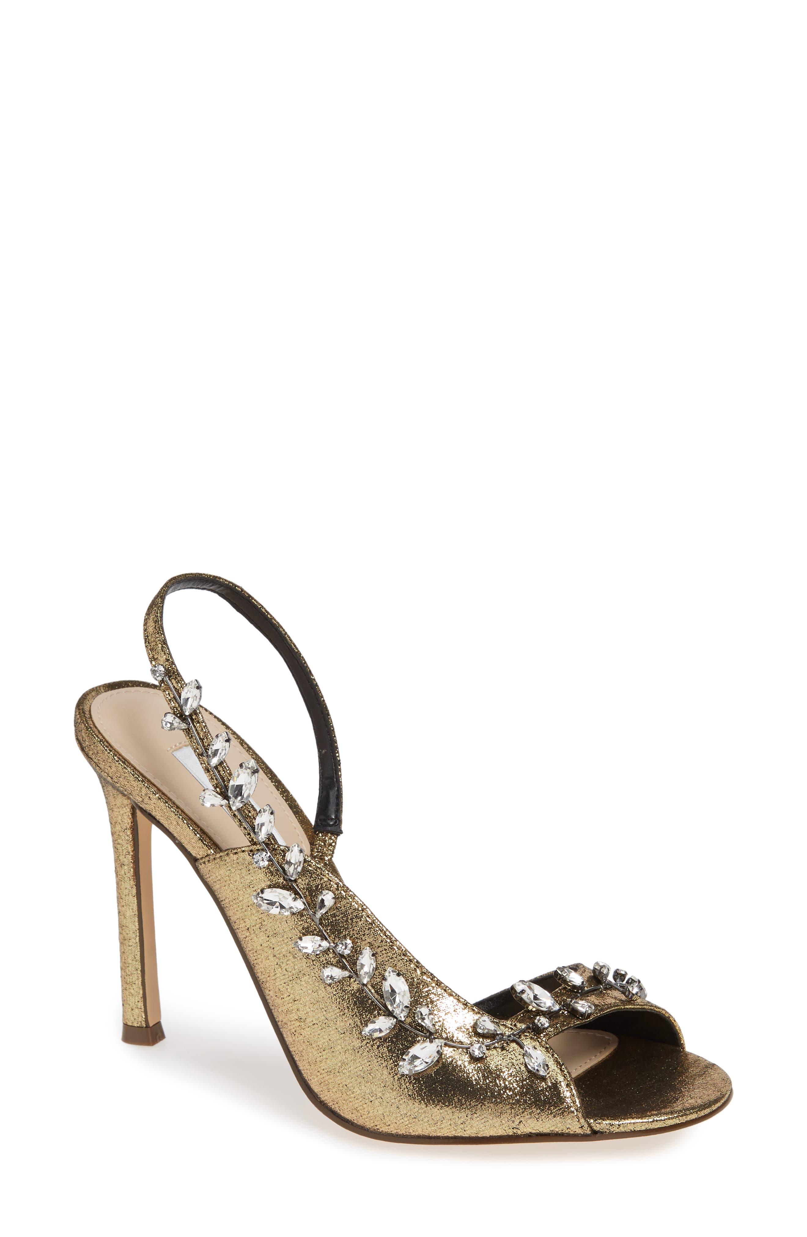 Nina Deanna Embellished Sandal, Metallic