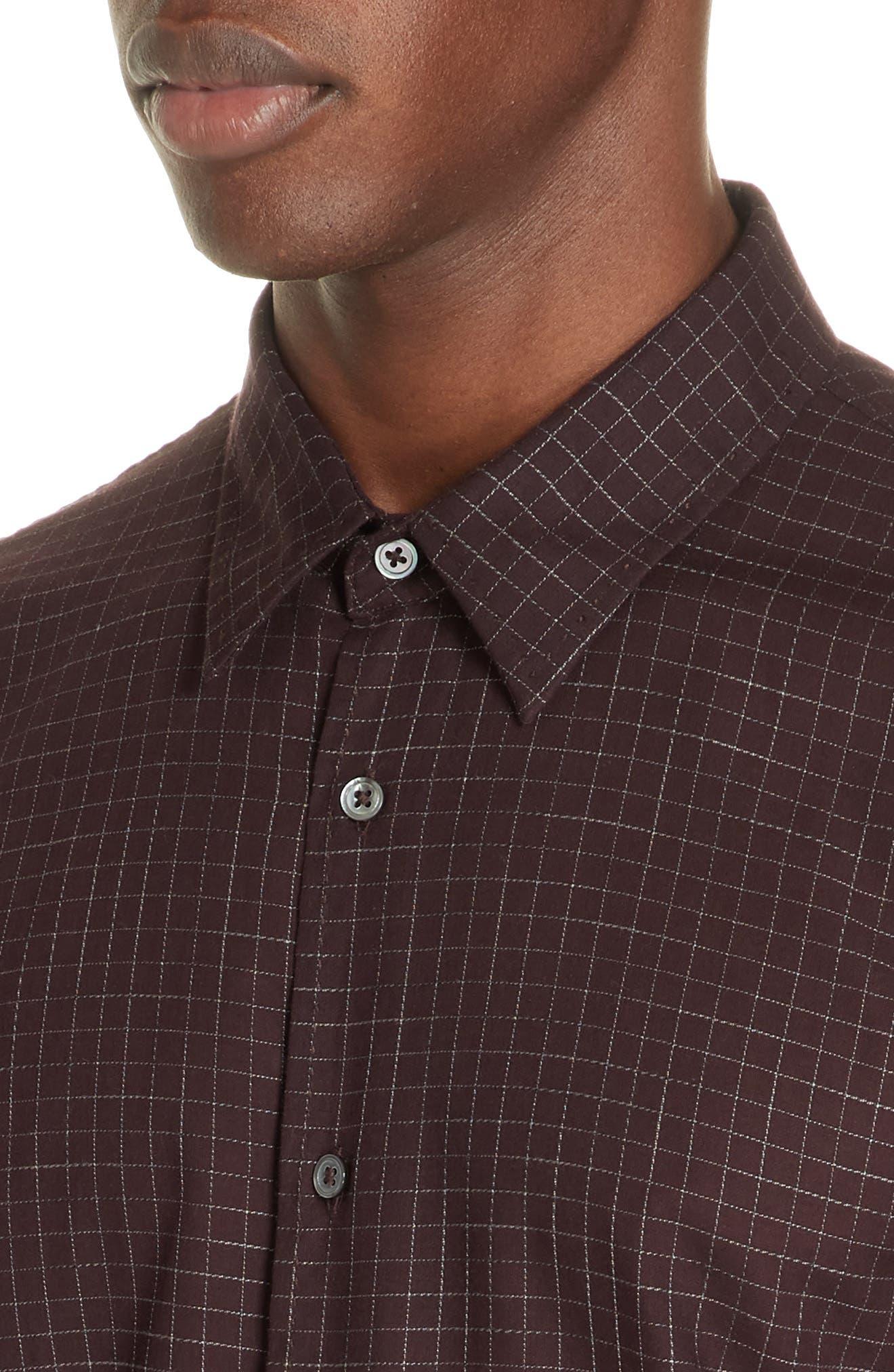 Windowpane Check Sport Shirt,                             Alternate thumbnail 2, color,                             BORDEAUX