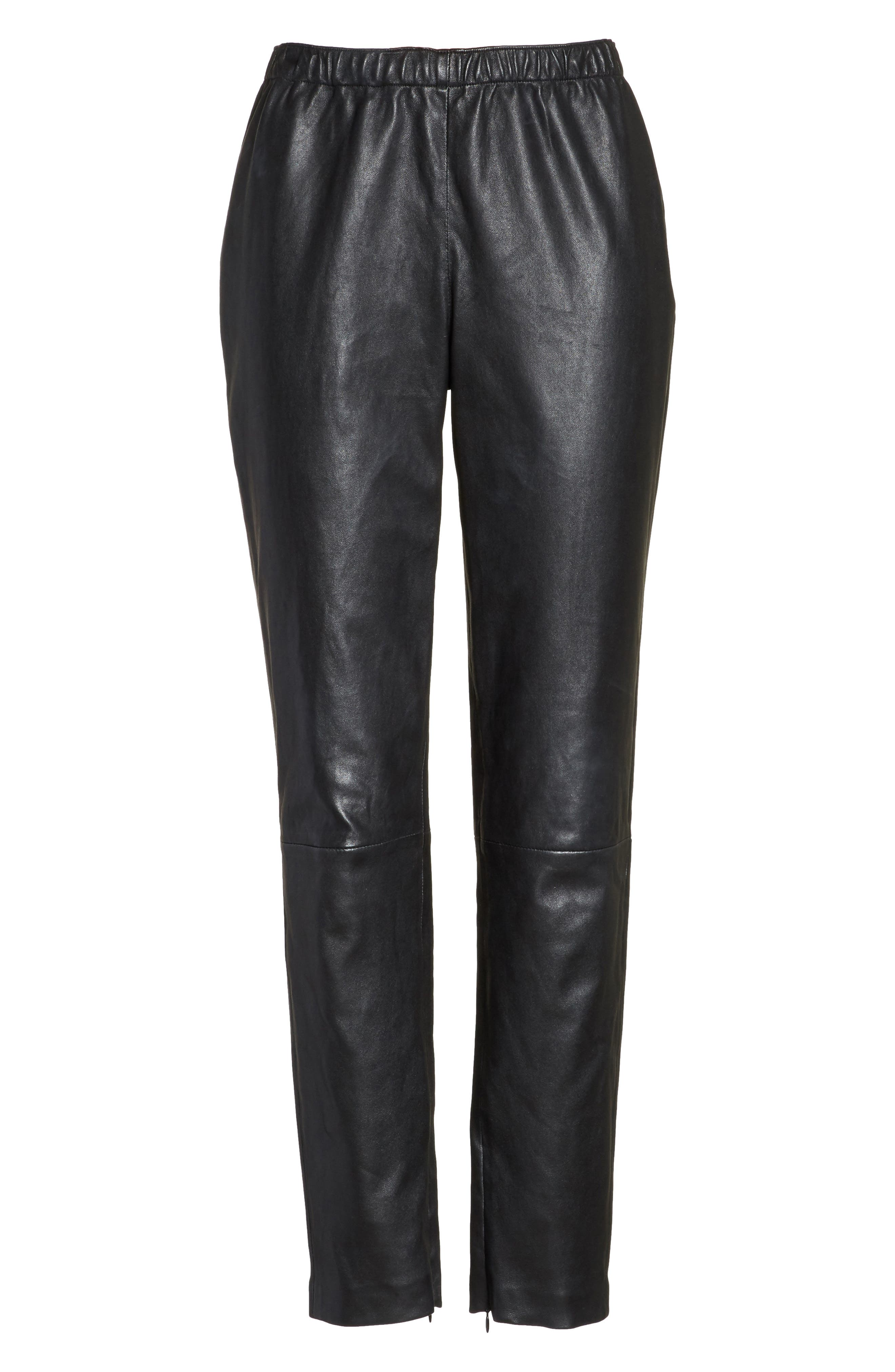 Stretch Nappa Leather Crop Pants,                             Alternate thumbnail 6, color,                             CAVIAR