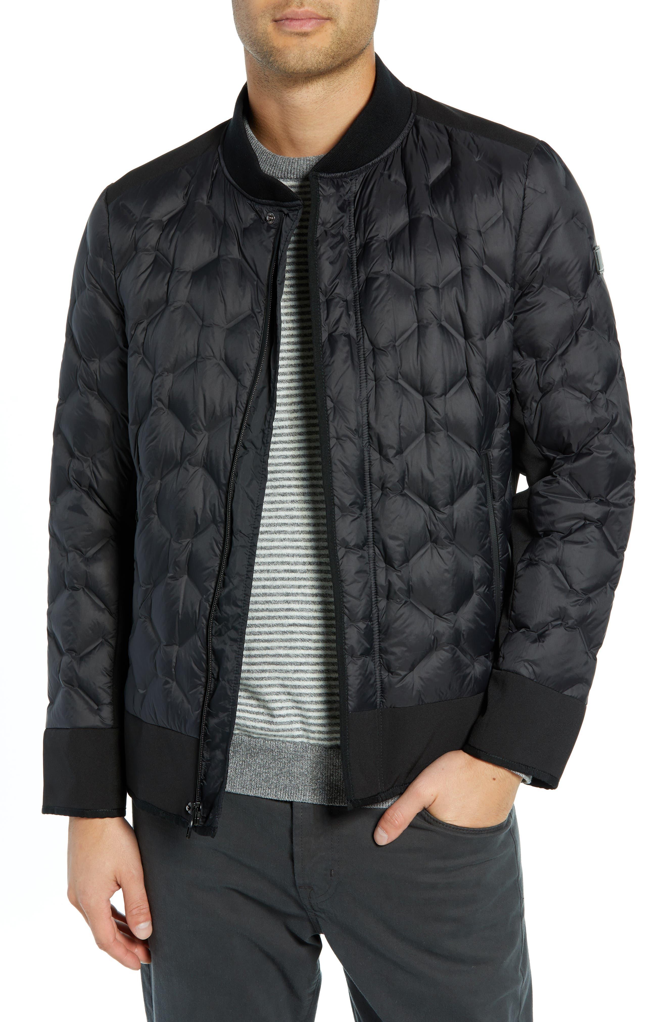 Geo Quilt Down Jacket,                         Main,                         color, BLACK