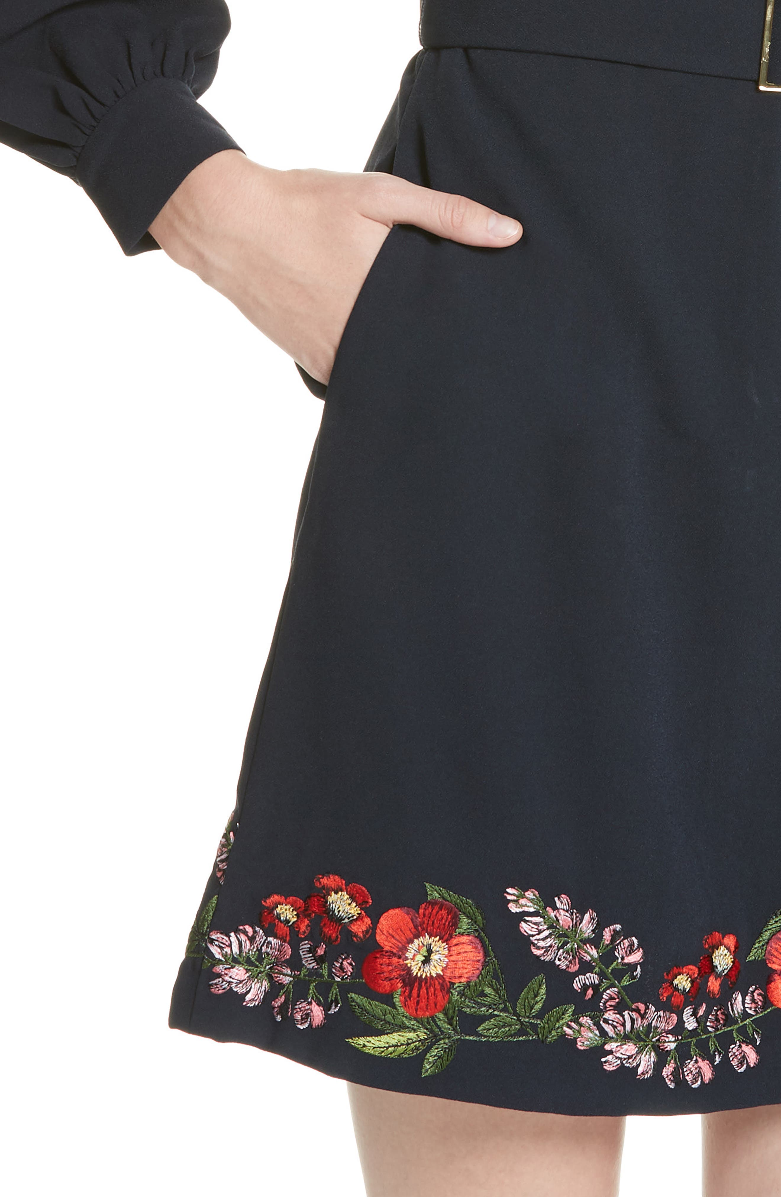 Silia Kirstenbosch Embroidered Dress,                             Alternate thumbnail 4, color,                             DARK BLUE