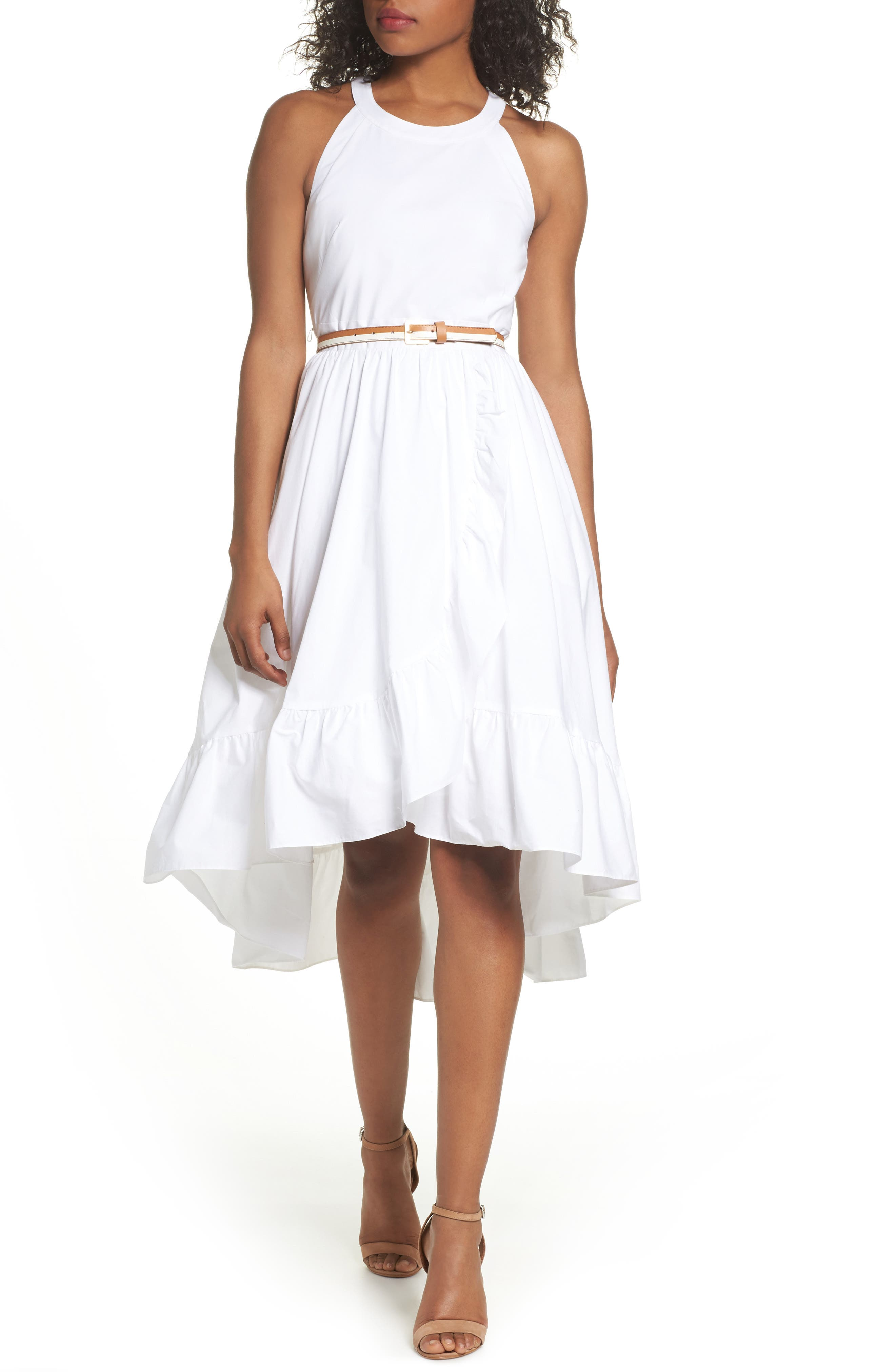Belted High/Low Dress,                             Alternate thumbnail 5, color,                             100