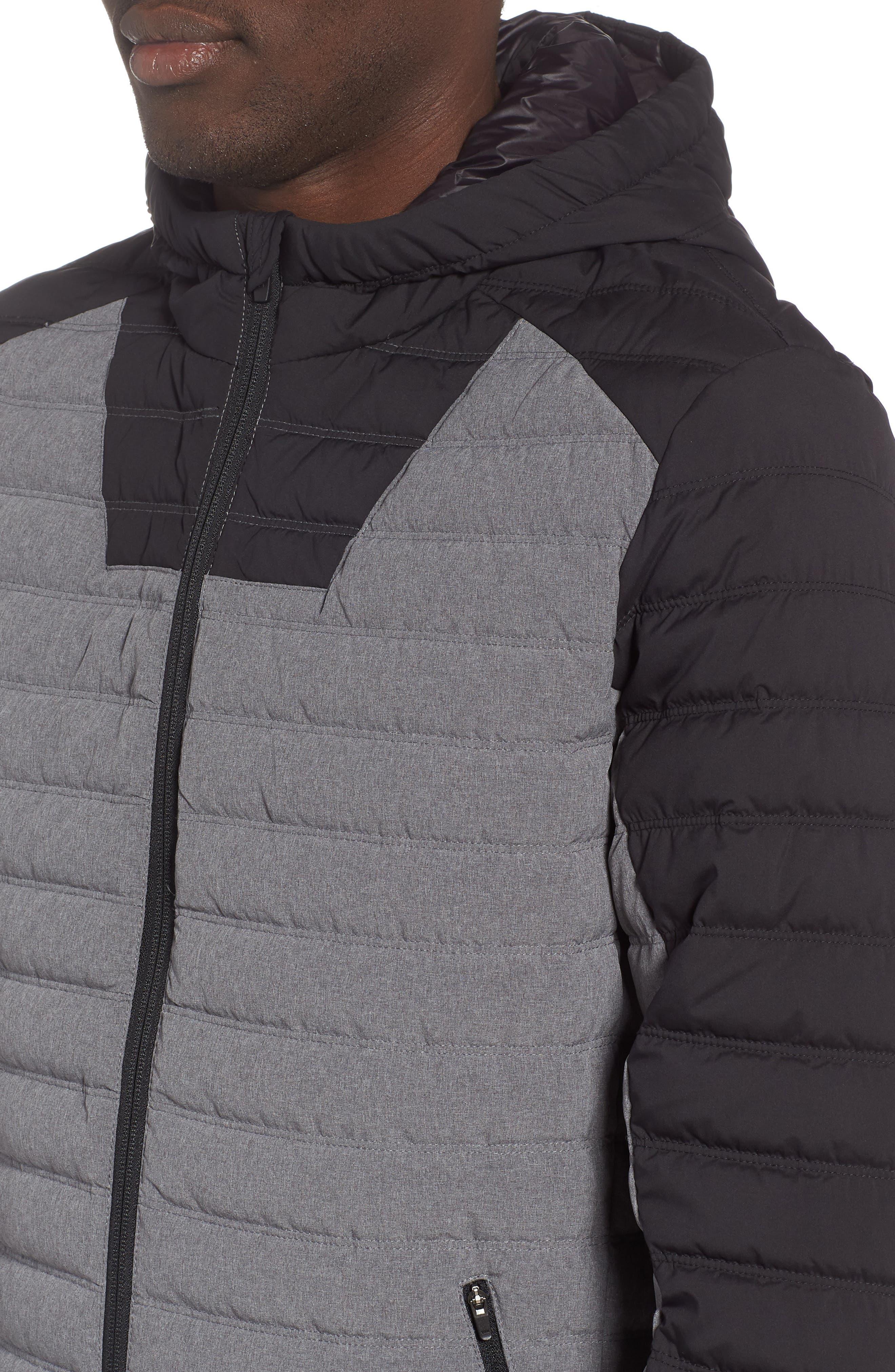 Hooded Water Resistant Down Jacket,                             Alternate thumbnail 4, color,                             BLACK GREY OBSIDIAN