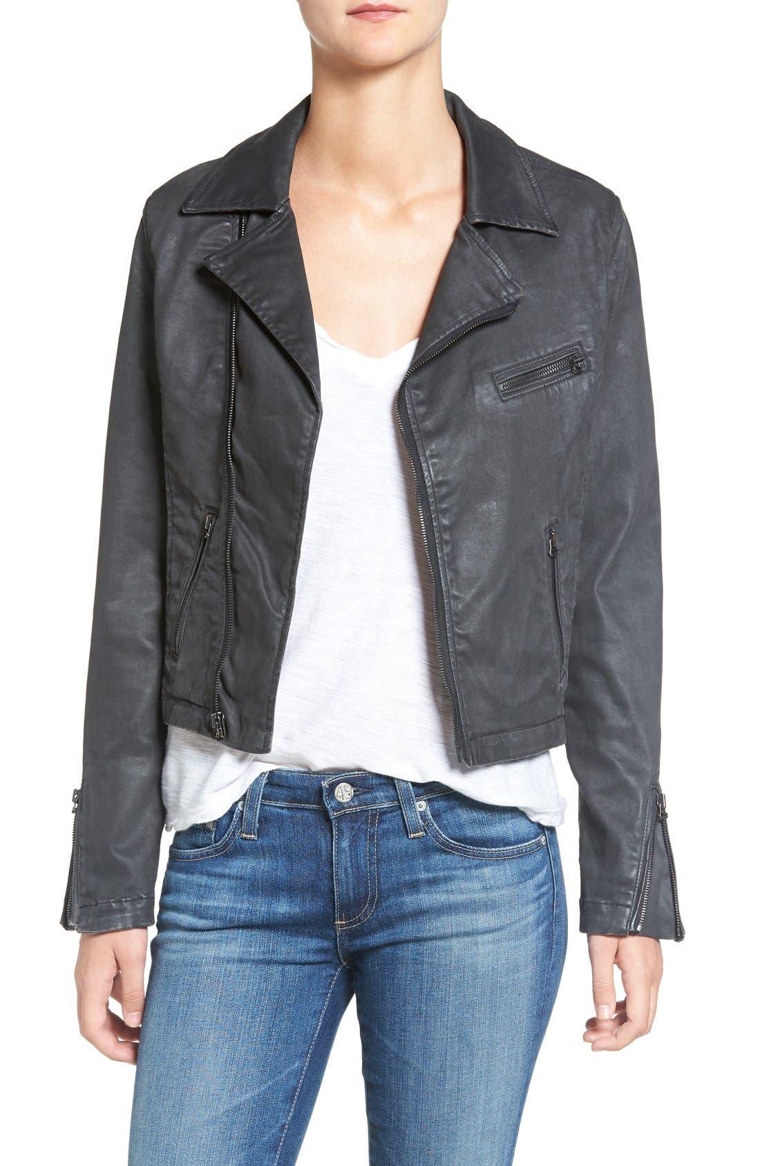 The Moto Coated Denim Jacket, Main, color, 012