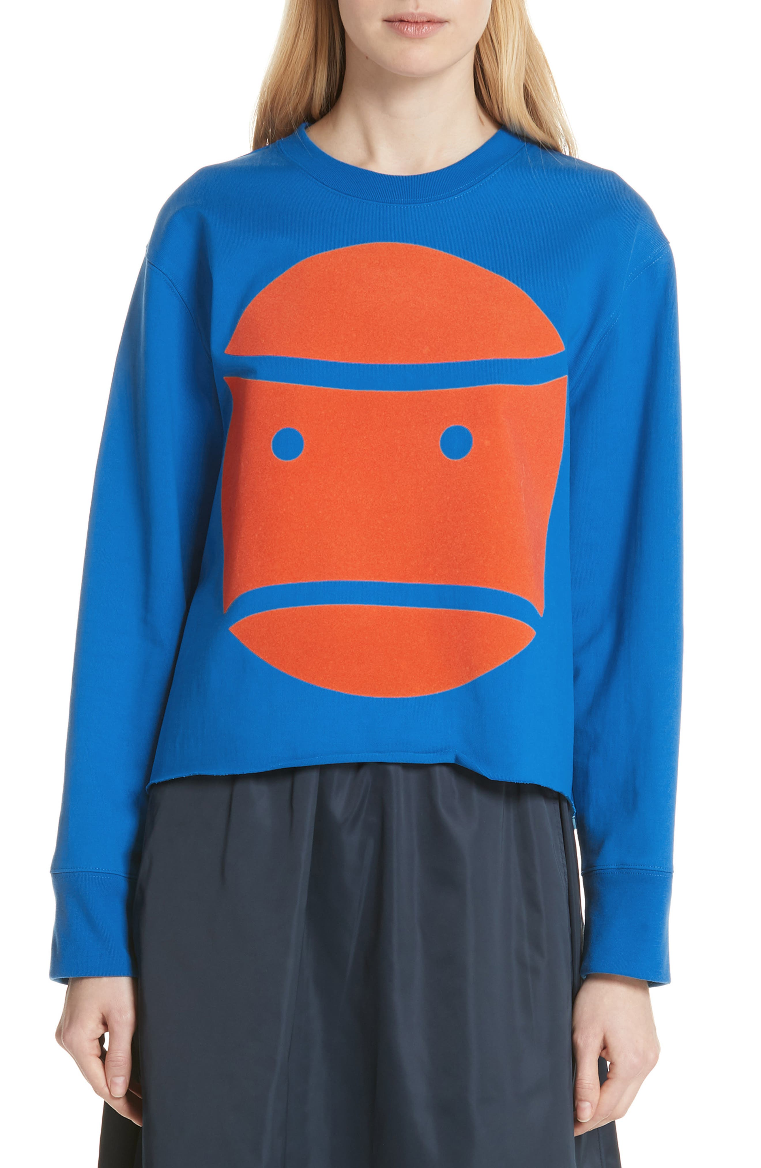 Grumps Cropped Graphic Jersey Top in Galleria Blue