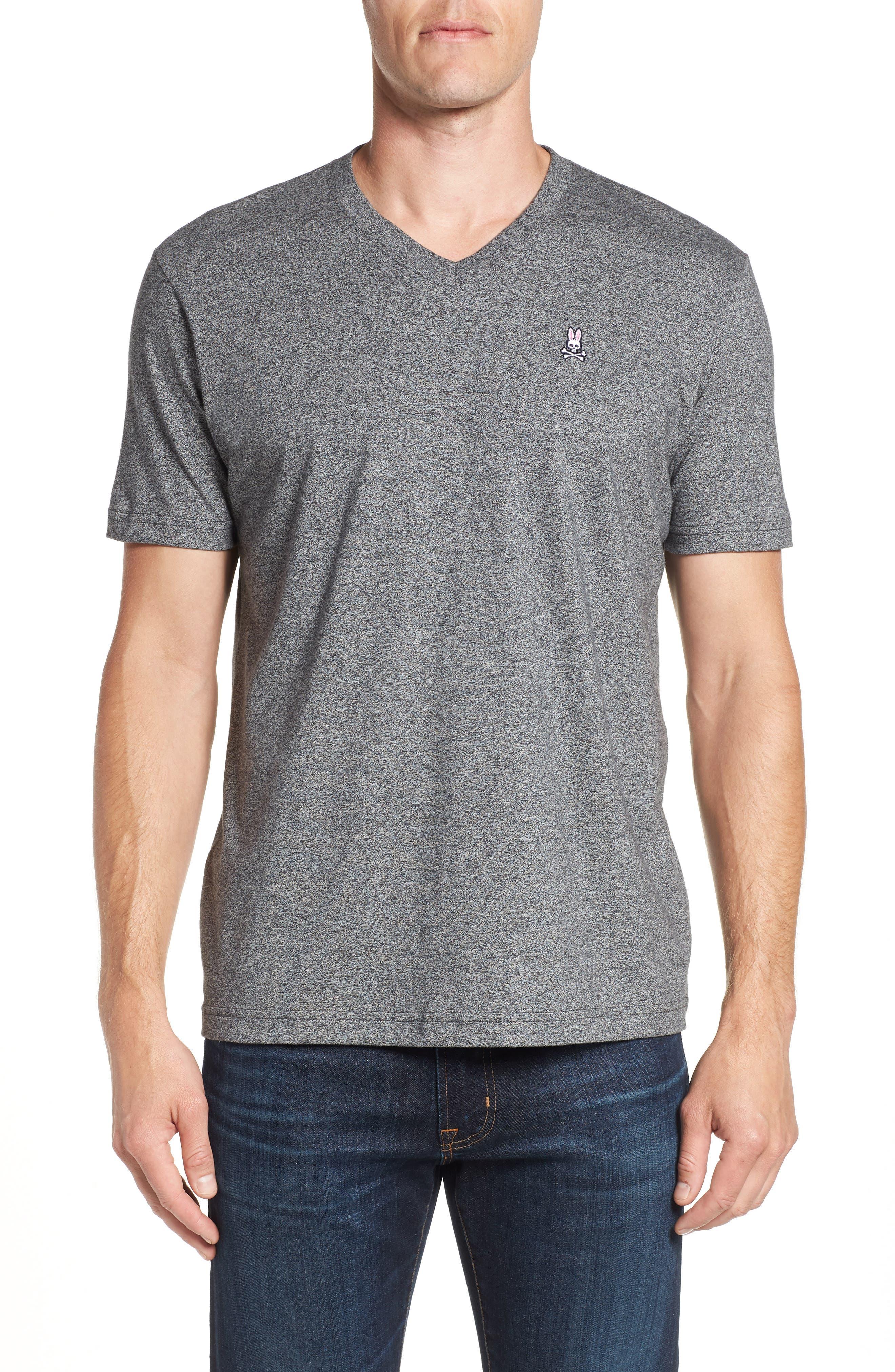 V-Neck T-Shirt,                         Main,                         color, GREY SALT PEPPER
