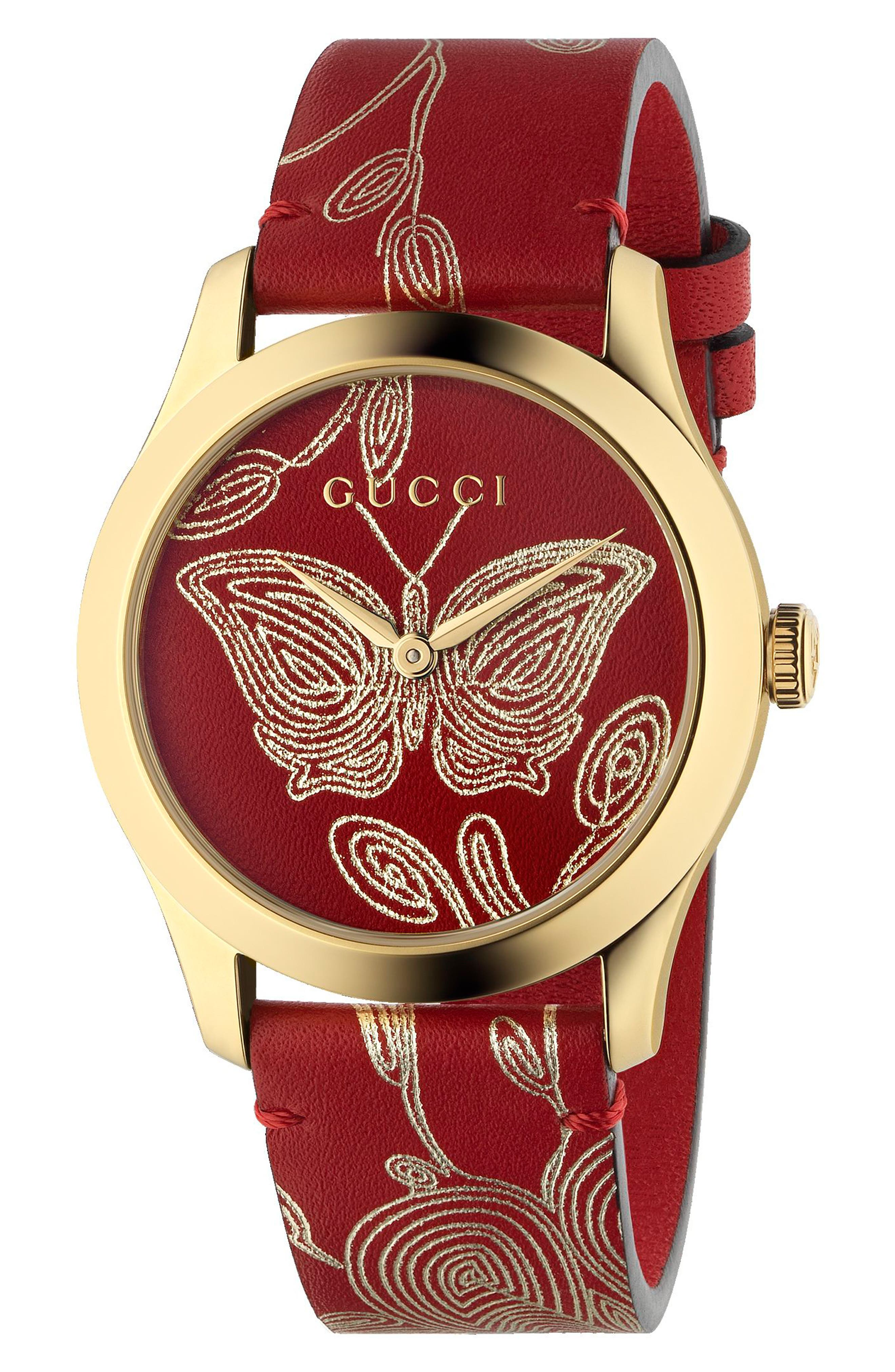G-Timeless Leather Strap Watch, 36mm,                             Main thumbnail 1, color,                             RED/ GOLD