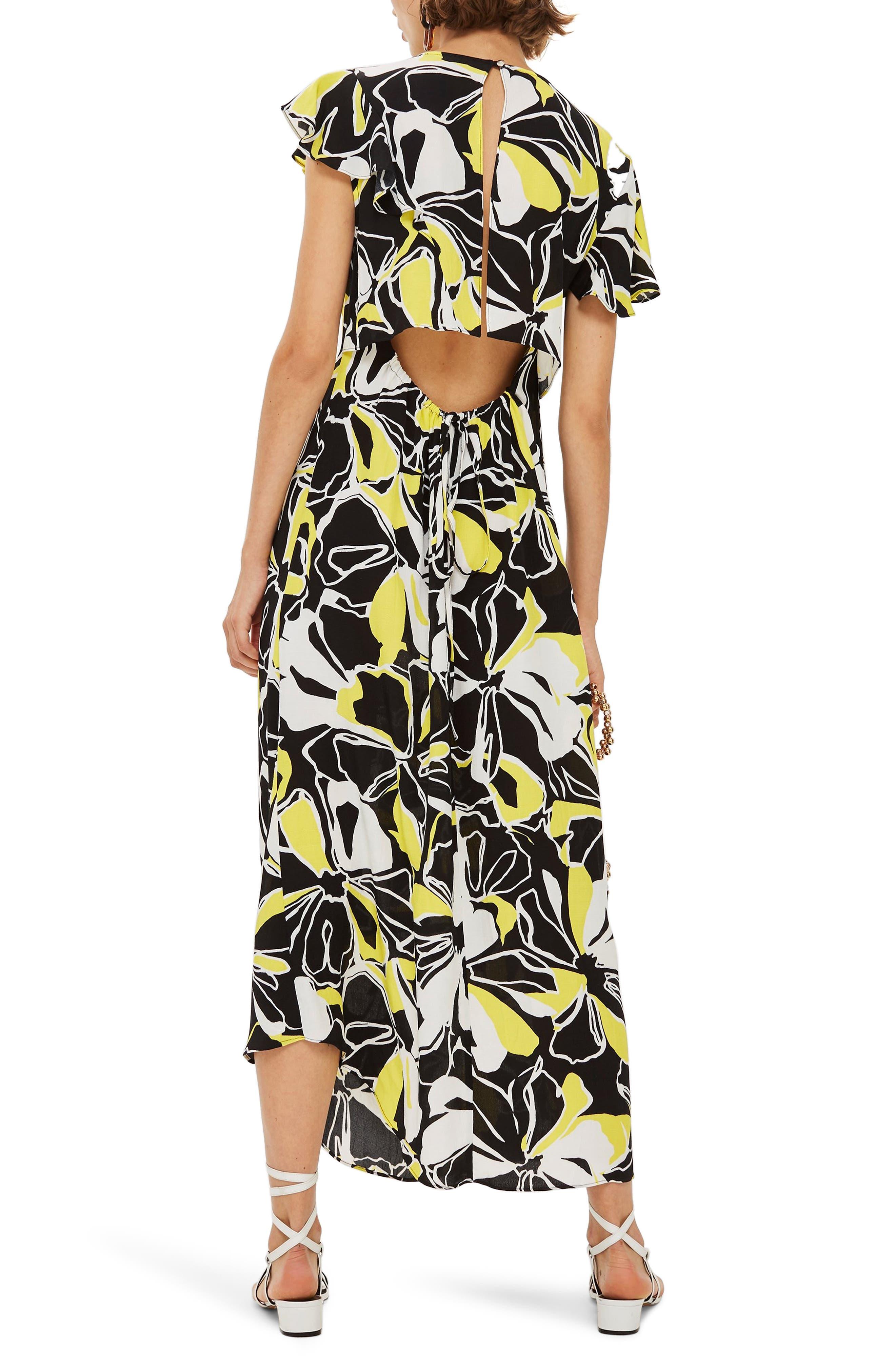 Deconstructed Floral Print Maxi Dress,                             Alternate thumbnail 2, color,                             BLACK MULTI