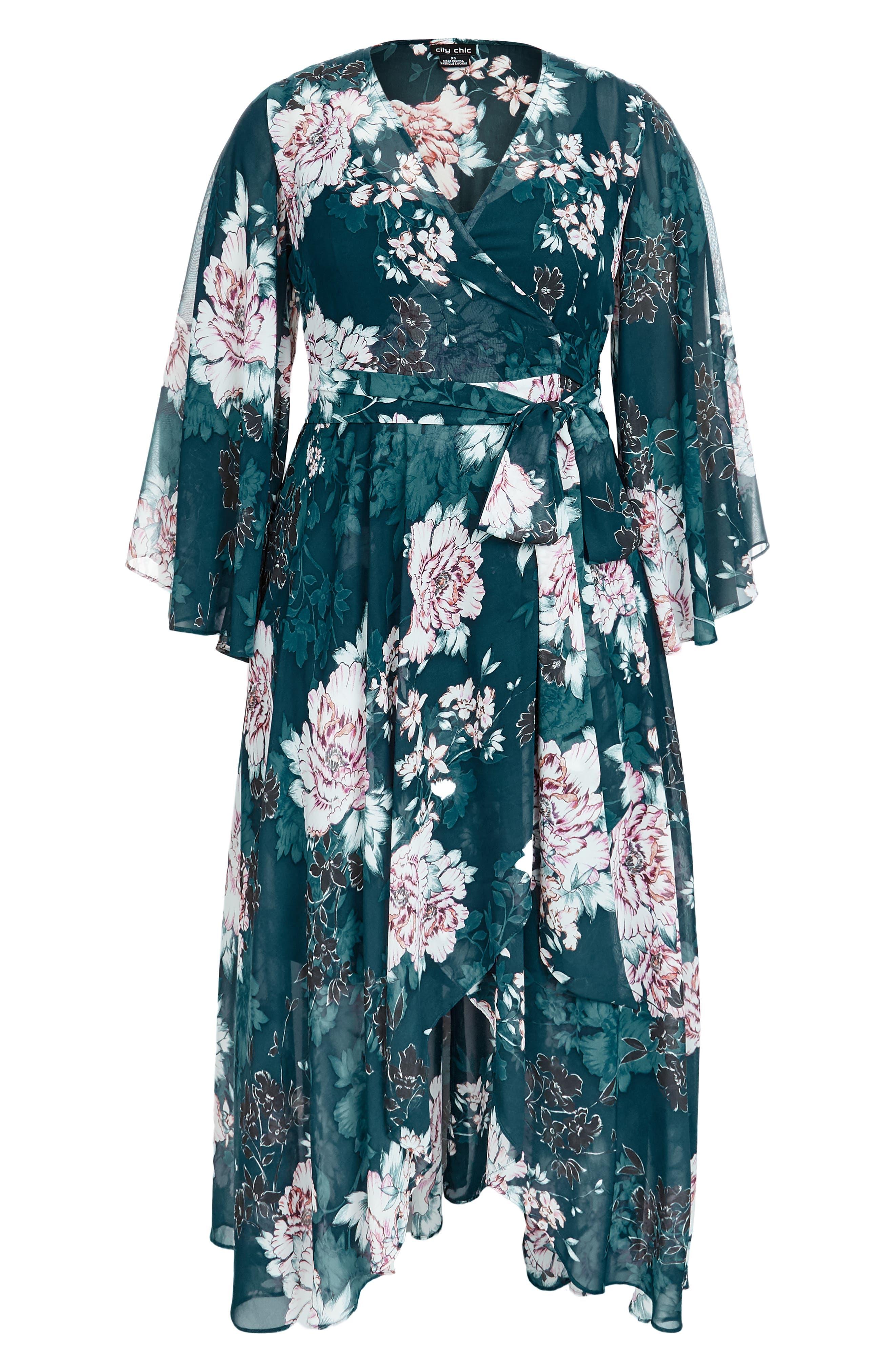 CITY CHIC,                             Jade Blossom Wrap Maxi Dress,                             Alternate thumbnail 3, color,                             JADE BLOSSOM