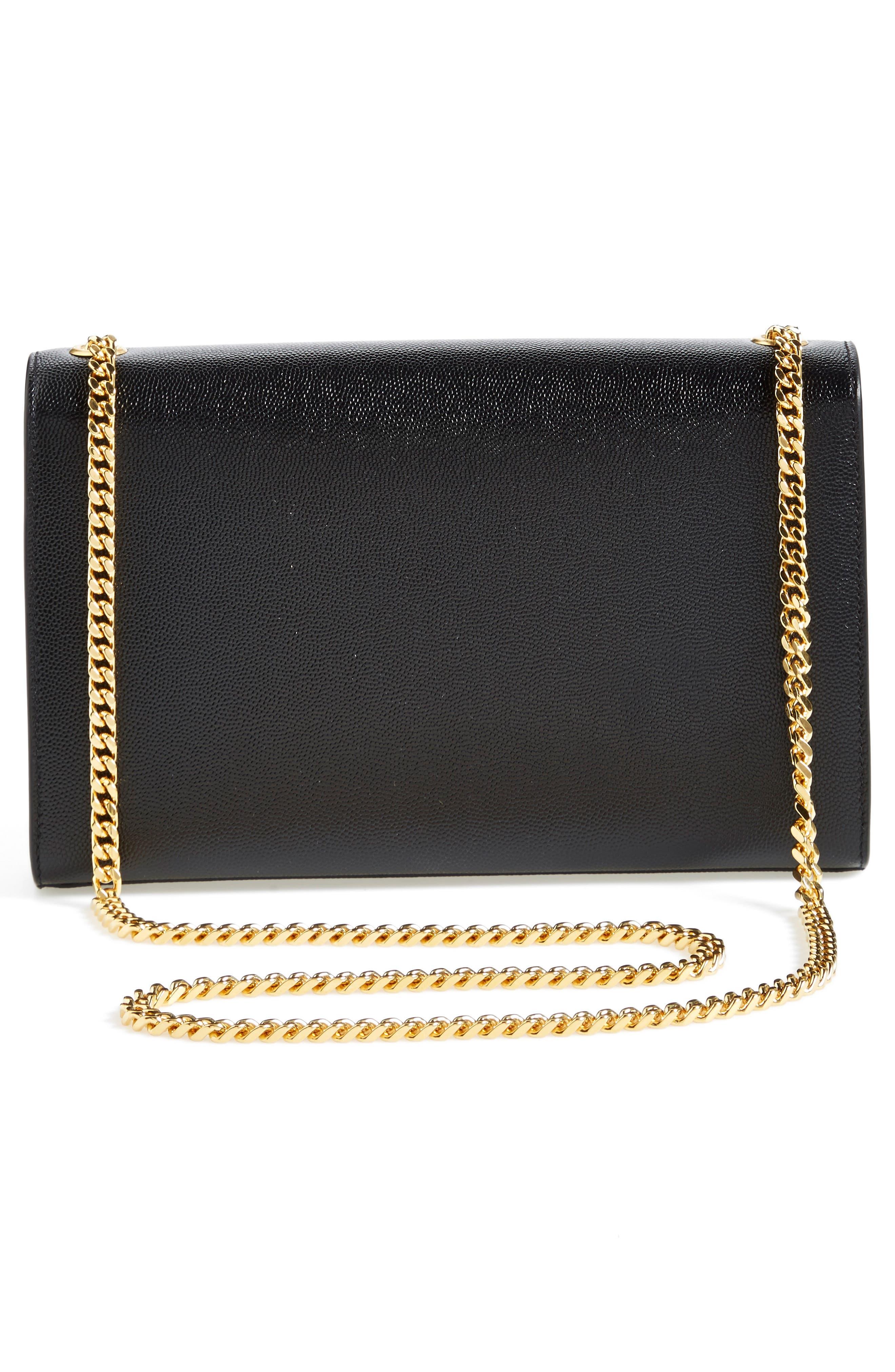 'Medium Kate' Leather Chain Shoulder Bag,                             Alternate thumbnail 5, color,                             NOIR