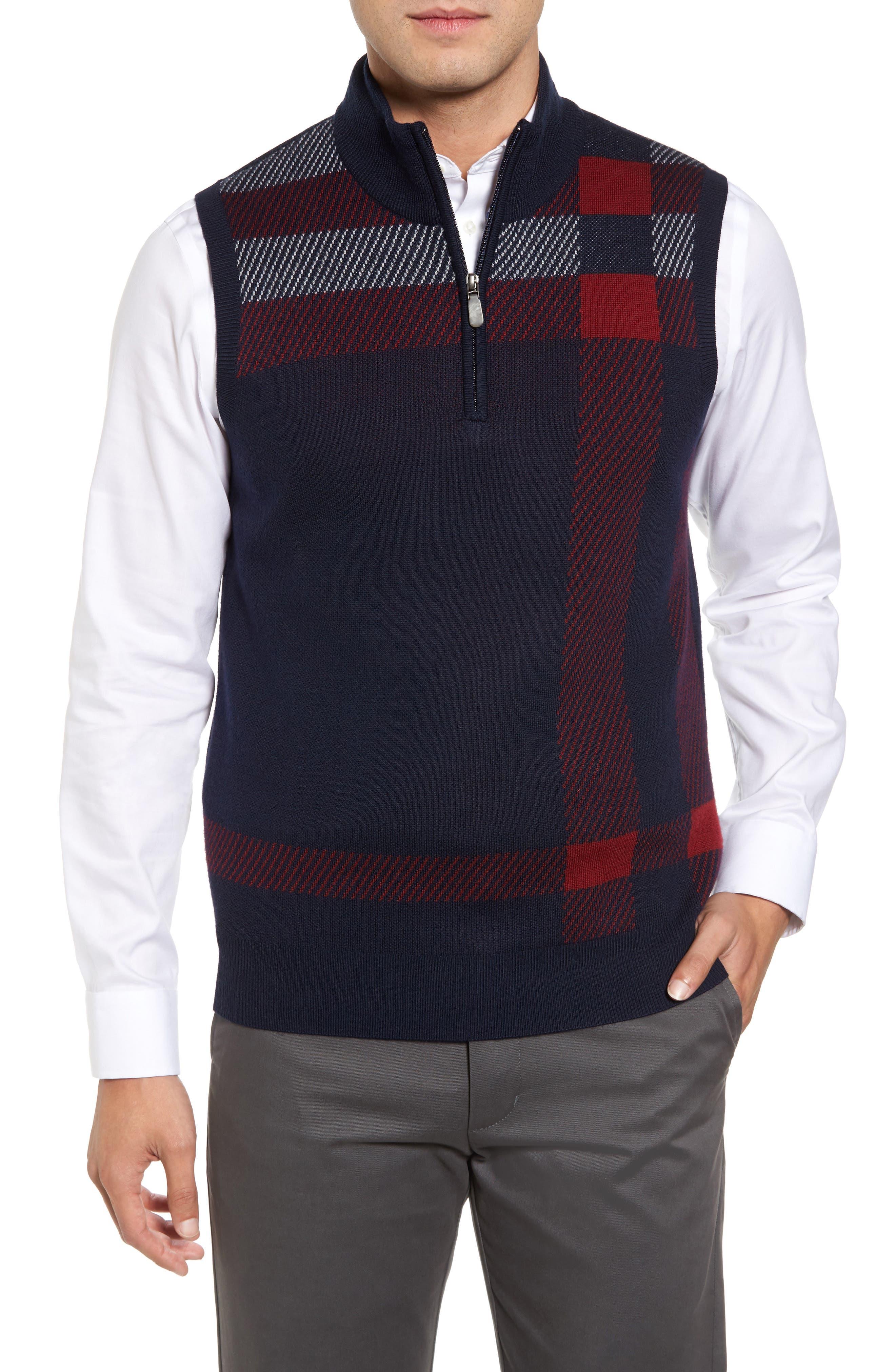 Oversize Plaid Wool Vest,                             Main thumbnail 2, color,