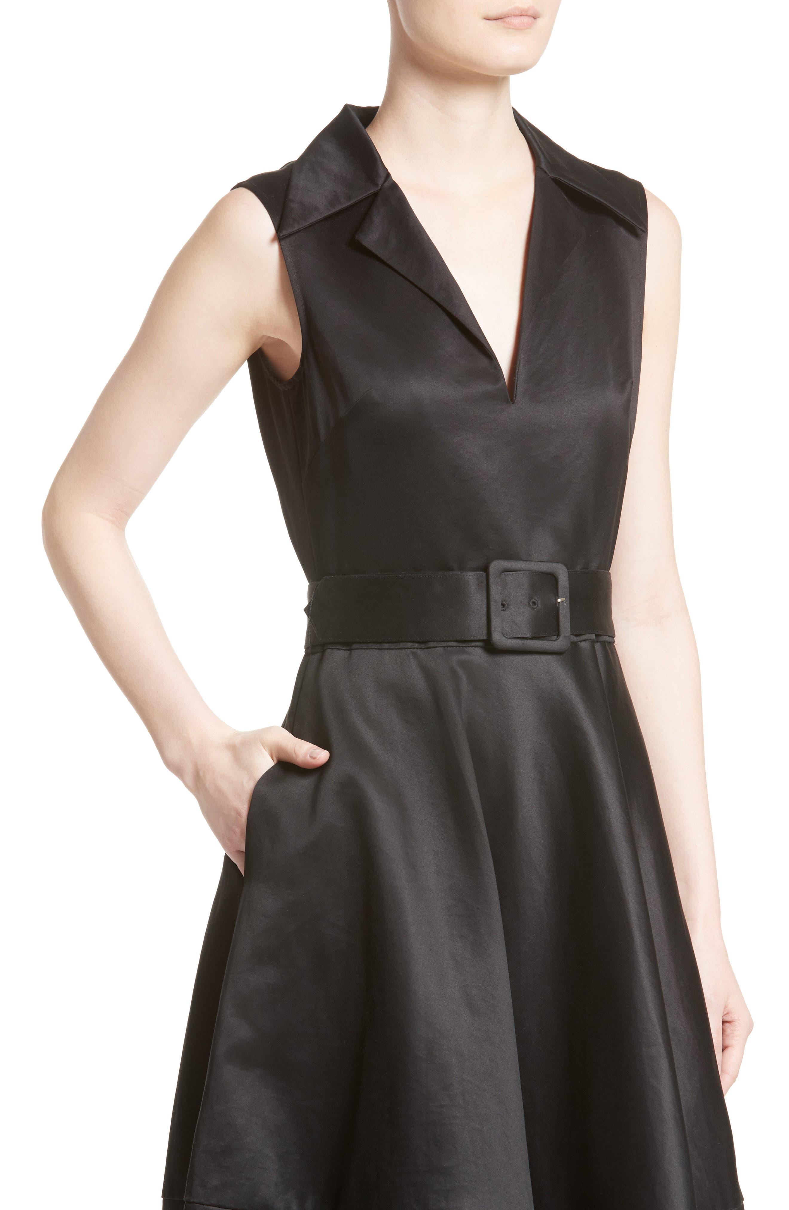 Cotton Sateen A-Line Dress,                             Alternate thumbnail 4, color,                             001